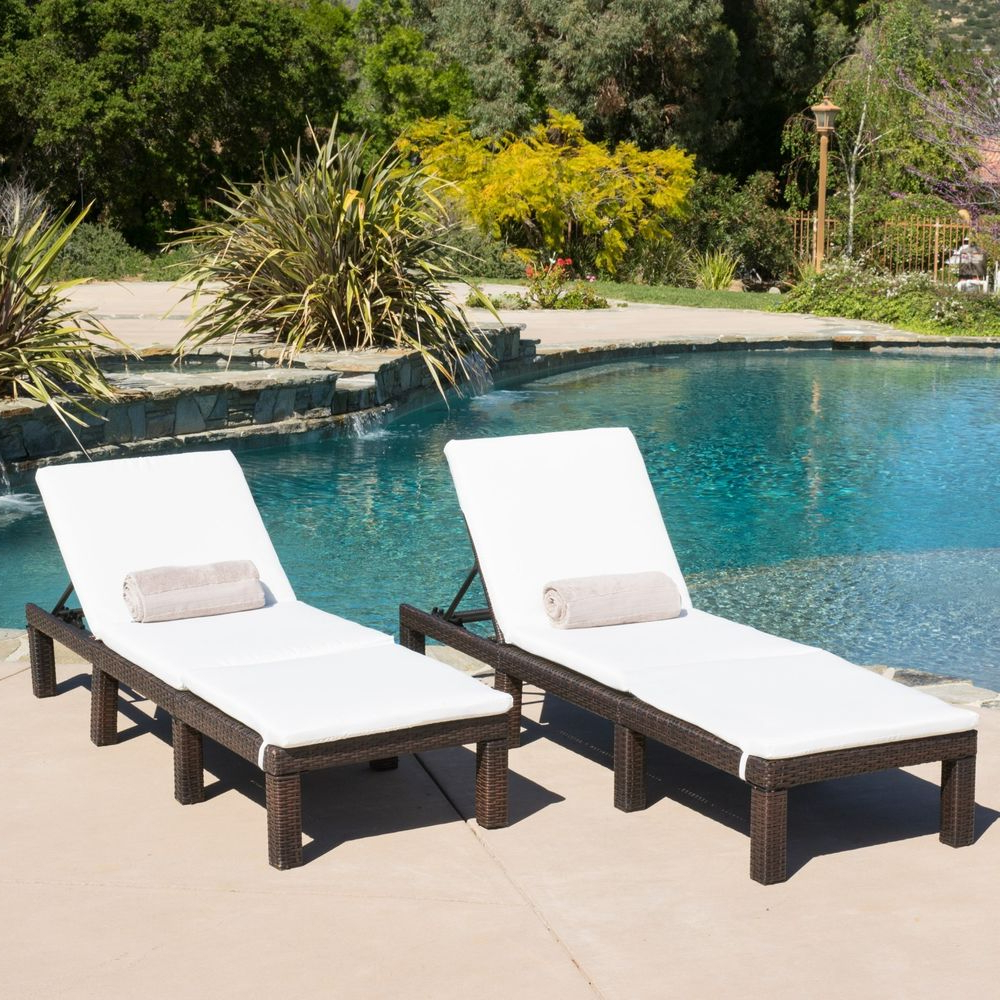 Most Recent Outdoor Wicker Adjustable Chaise Lounges With Cushions Within (Set Of 2) Multibrown Wicker Adjustable Chaise Lounge Chairs W/ Ivory  Cushions (View 11 of 25)
