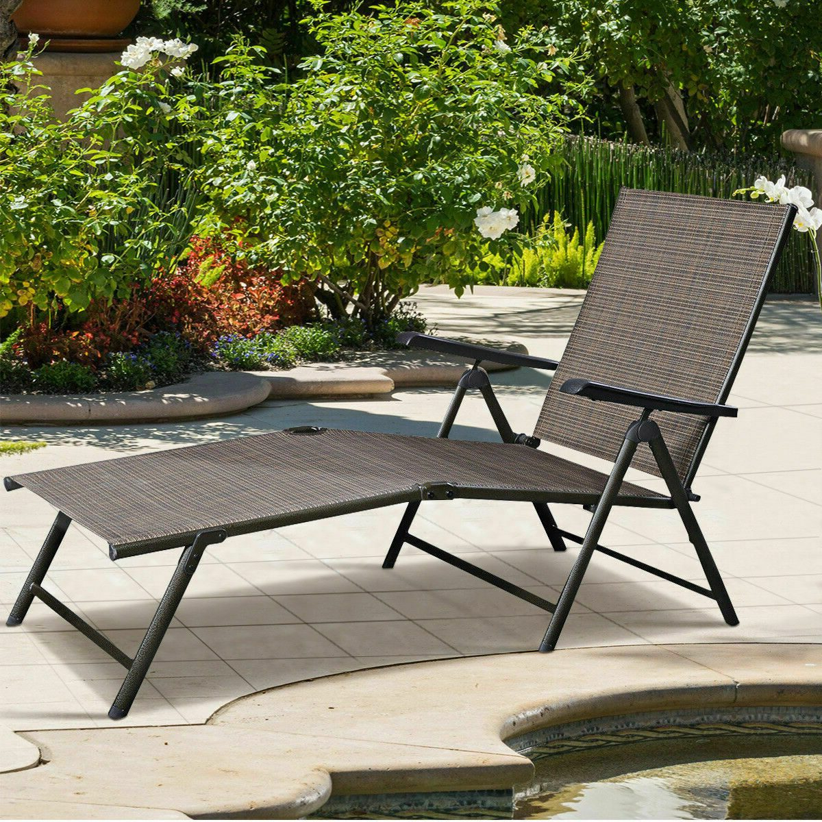 Most Recent Outdoor Yard Pool Recliner Folding Lounge Table Chairs In Citycw Adjustable Pool Chaise Lounge Chair Recliner Textilene Outdoor Patio  Furniture (View 11 of 25)
