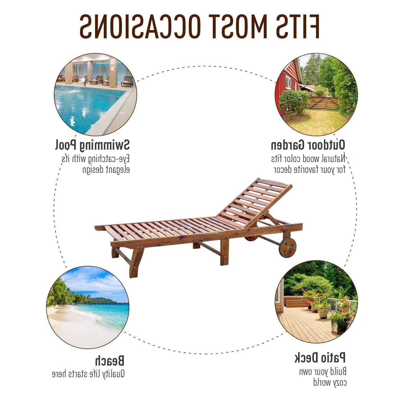 Most Recent Outsunny Wooden Wood Outdoor Folding Chaise Lounge Chair Recliner With Rolling Wheels – Teak With Havenside Home Ormond Outdoor Hardwood Sun Loungers With Tray (View 15 of 25)