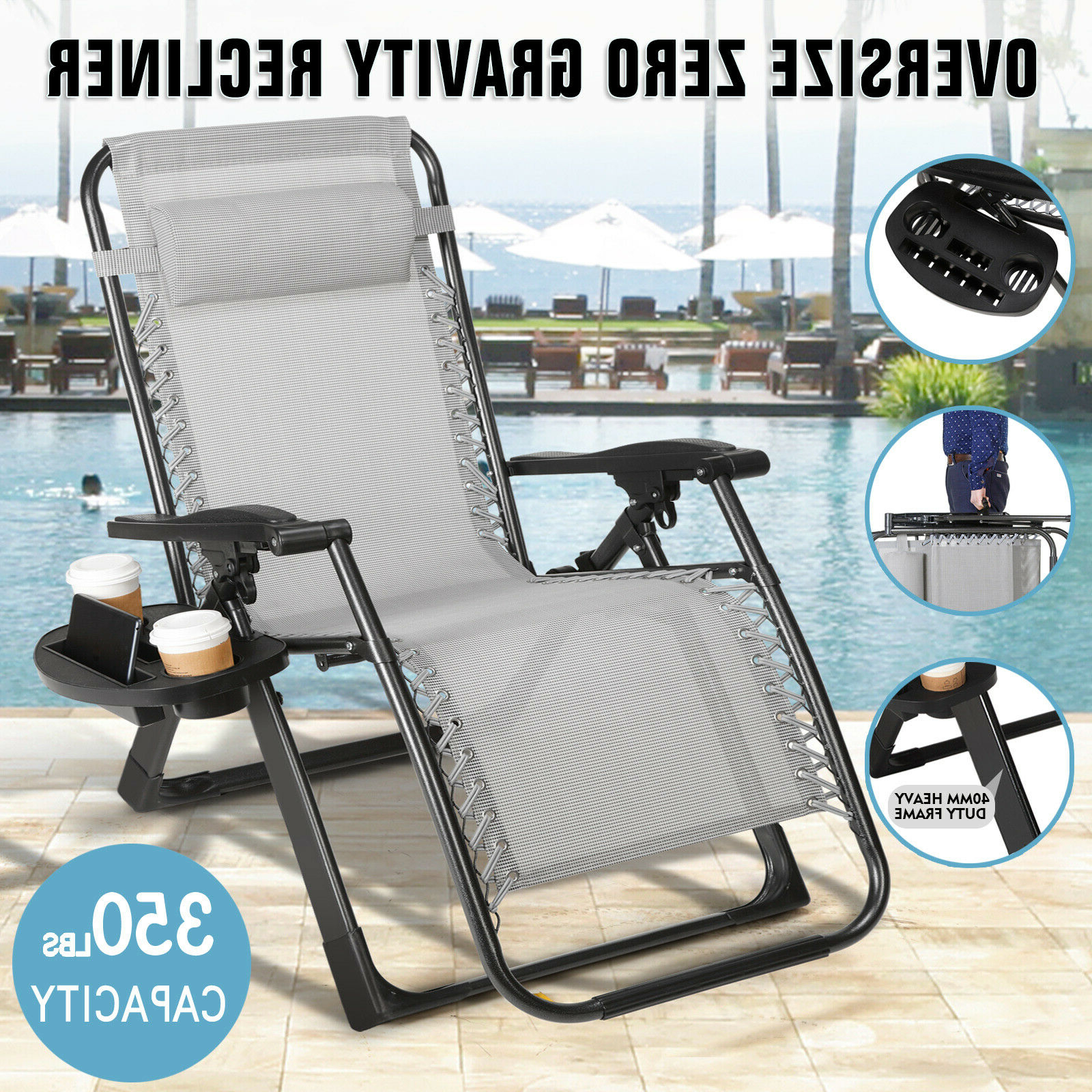 Most Recent Oversize Wider Armrest Padded Lounge Chairs With Folding Extra Wide Zero Gravity Chair Recliner Patio Pool Lounge Support  350Lbs (View 6 of 25)
