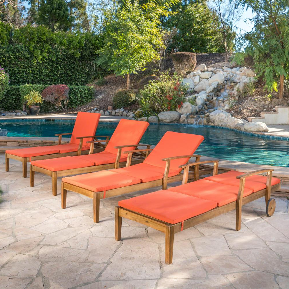 Most Recent Perla Outdoor Acacia Wood Chaise Lounges For Noble House Perla Teak Brown Wood Outdoor Chaise Lounge With Orange Cushions (Set Of 4) (View 13 of 25)