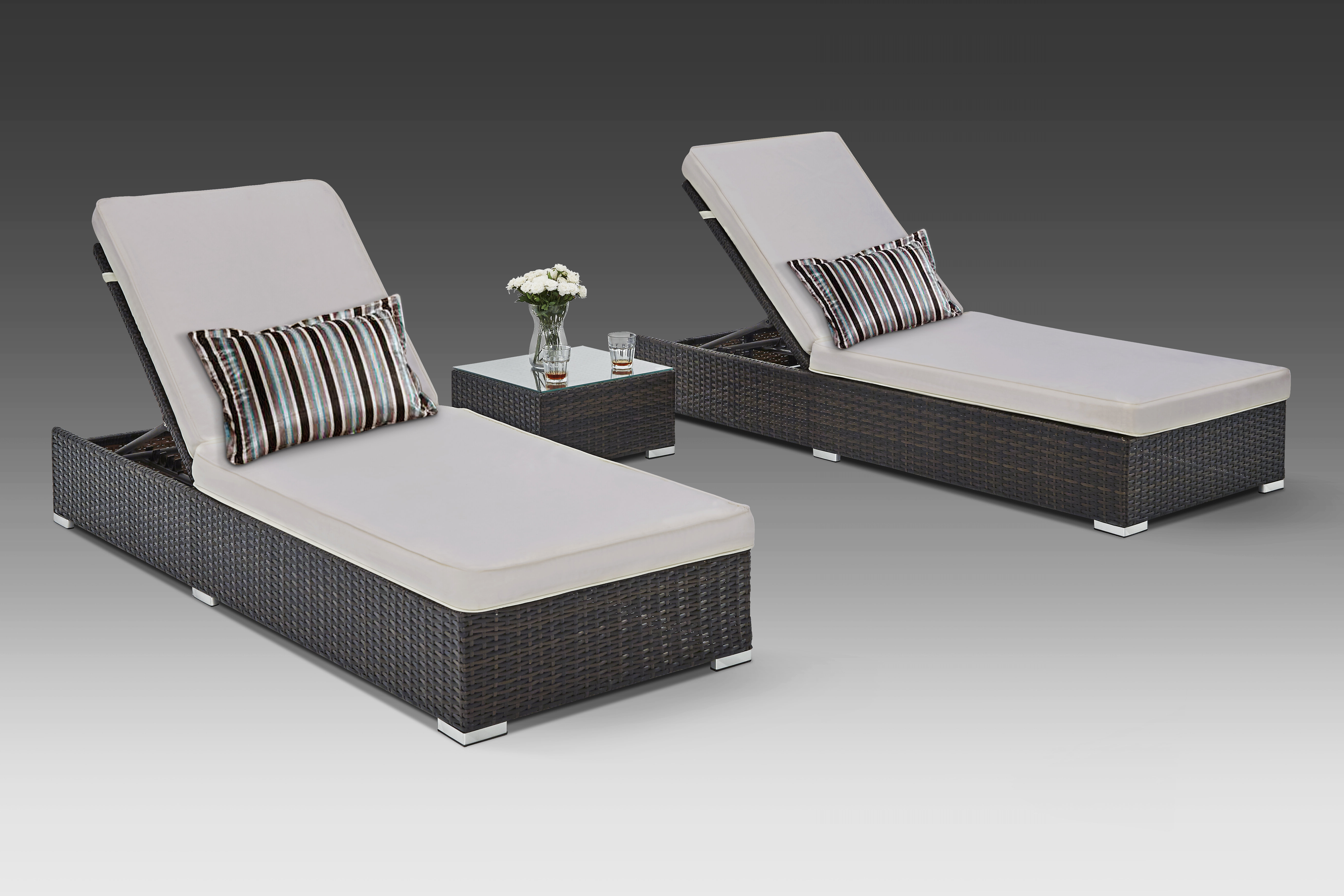 Most Recent Putney Sun Lounger Set With Cushions And Table In Outdoor 3 Piece Wicker Chaise Lounges And Table Sets (View 12 of 25)