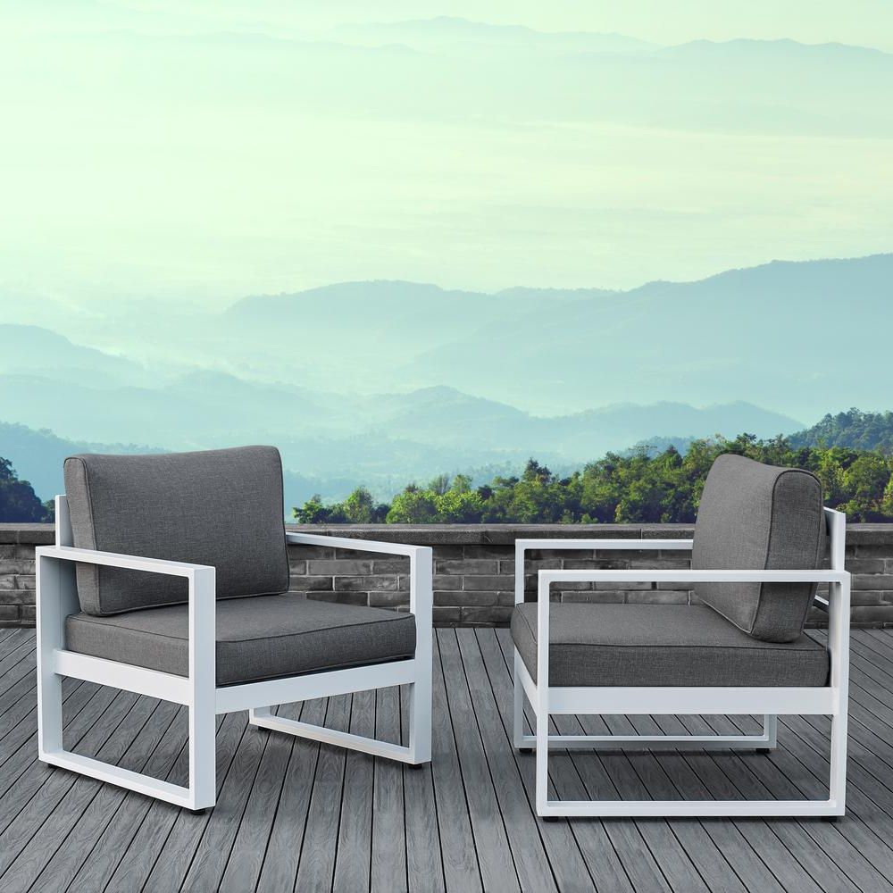 Most Recent Real Flame Baltic White 2 Piece Aluminum Patio Conversation Set With Gray  Cushions Throughout Lounge Chairs In White With Grey Cushions (View 16 of 25)