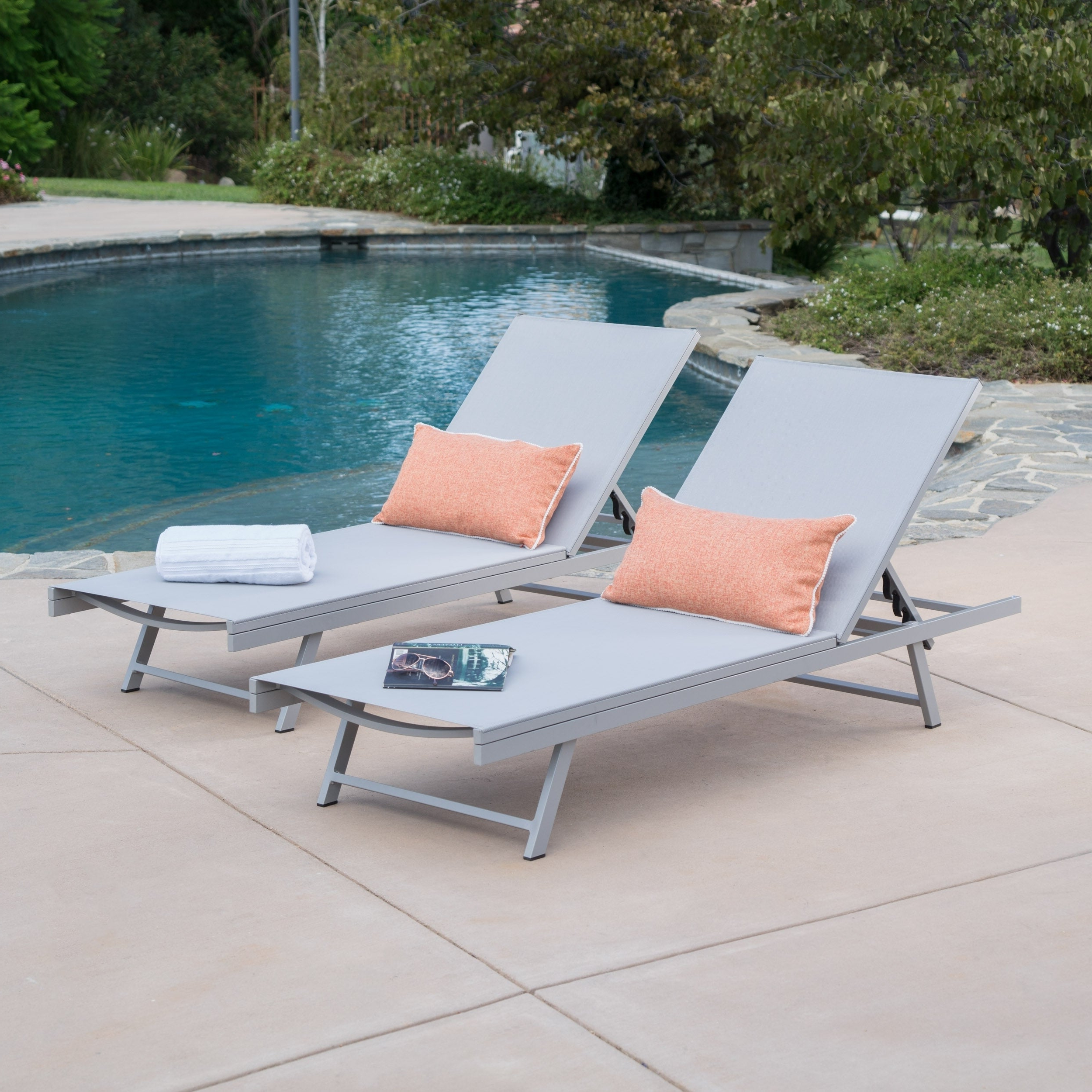 Most Recent Salton Outdoor Aluminum Chaise Lounges Inside Salton Outdoor Aluminum Chaise Lounge (set Of 2)christopher Knight Home (View 1 of 25)