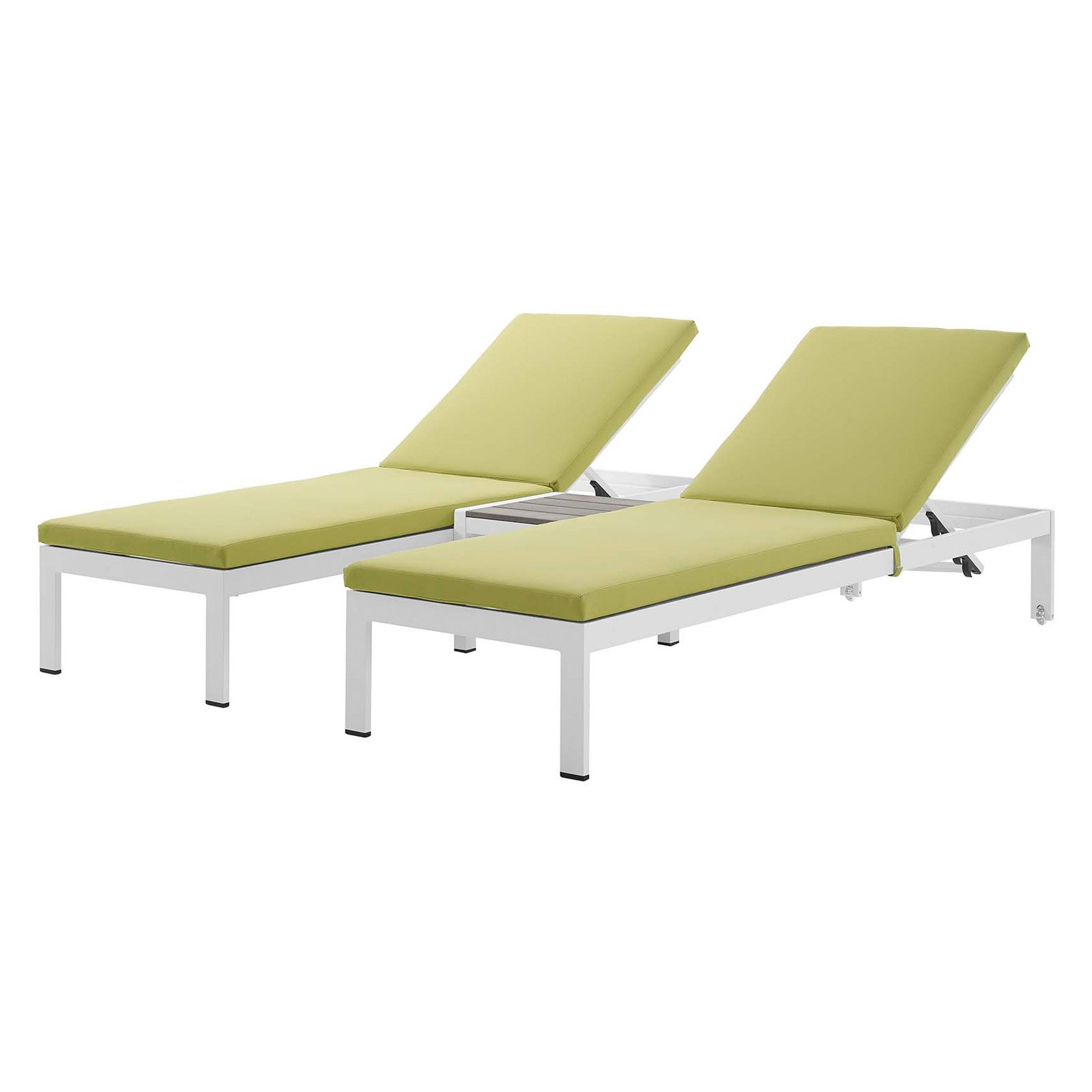 Most Recent Shore Aluminum Outdoor Chaises Regarding Modway Shore 3 Piece Outdoor Patio Aluminum Chaise With (Gallery 9 of 25)