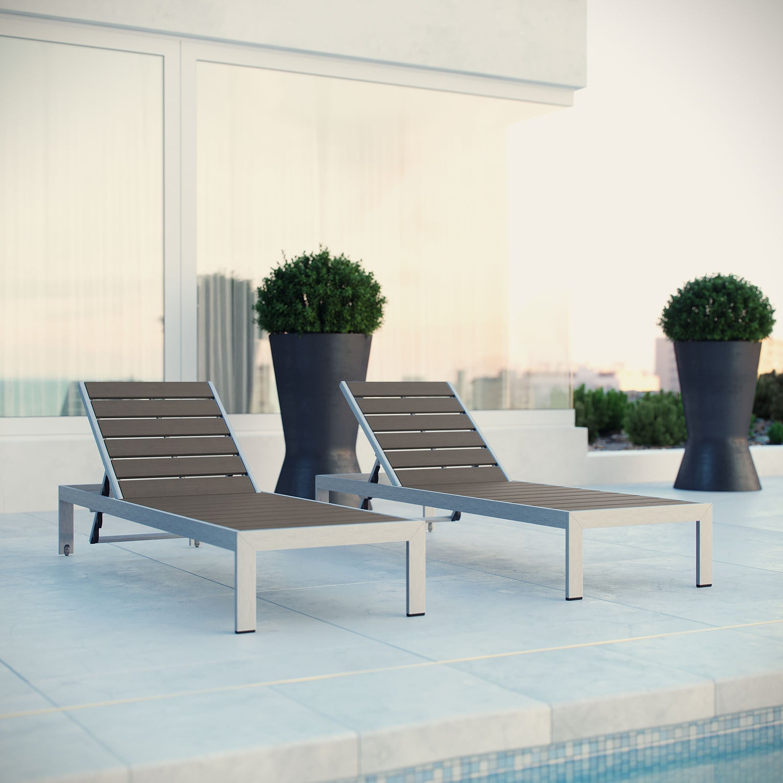 Most Recent Shore Aluminum Outdoor Grey 2 Piece Patio Chaise Lounger Set In Shore Aluminum Outdoor Chaise Lounges (View 9 of 25)