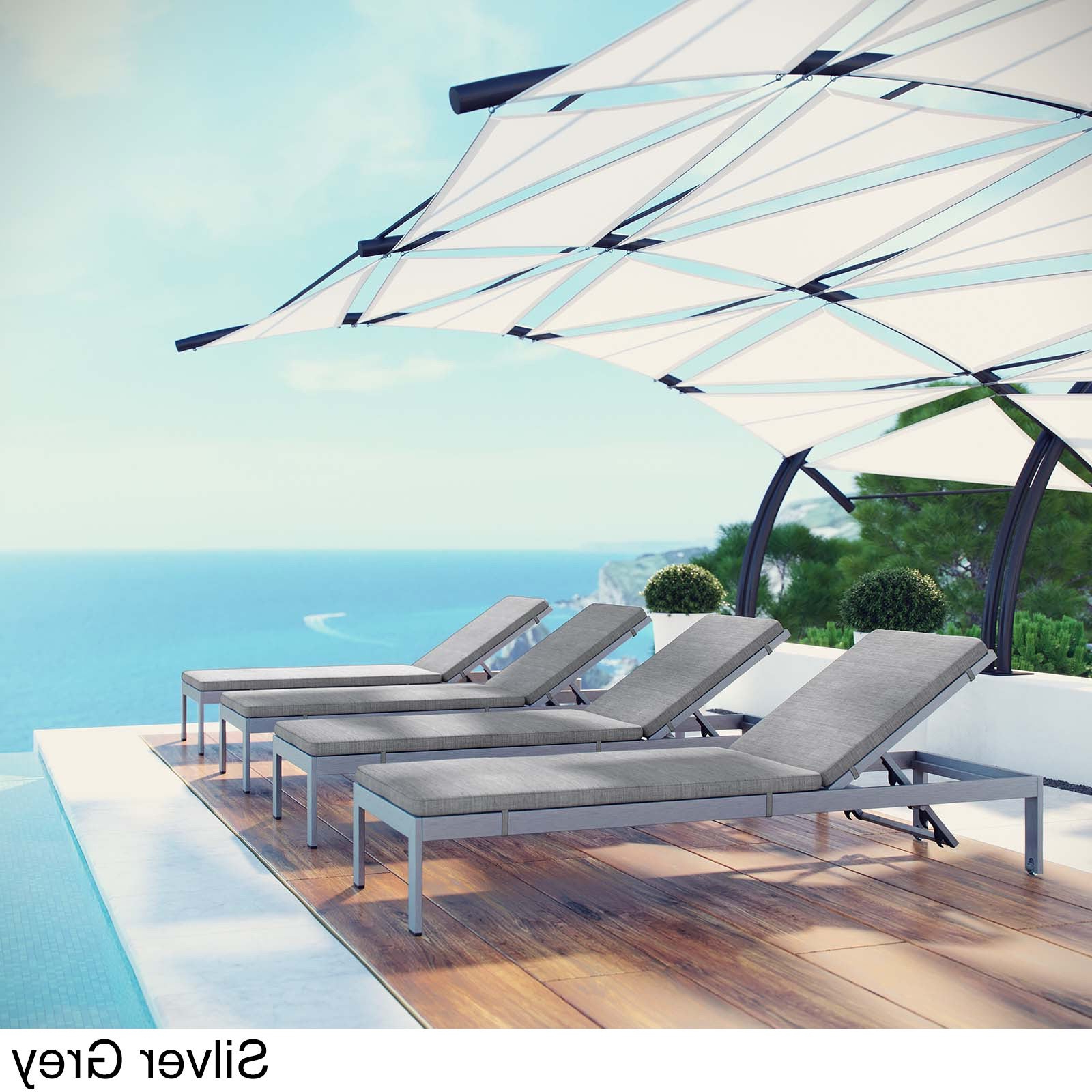 Most Recent Shore Set Of 4 Outdoor Patio Aluminum Chaise With Cushions Within Shore Alumunium Outdoor 3 Piece Chaise Lounger Sets (View 7 of 25)