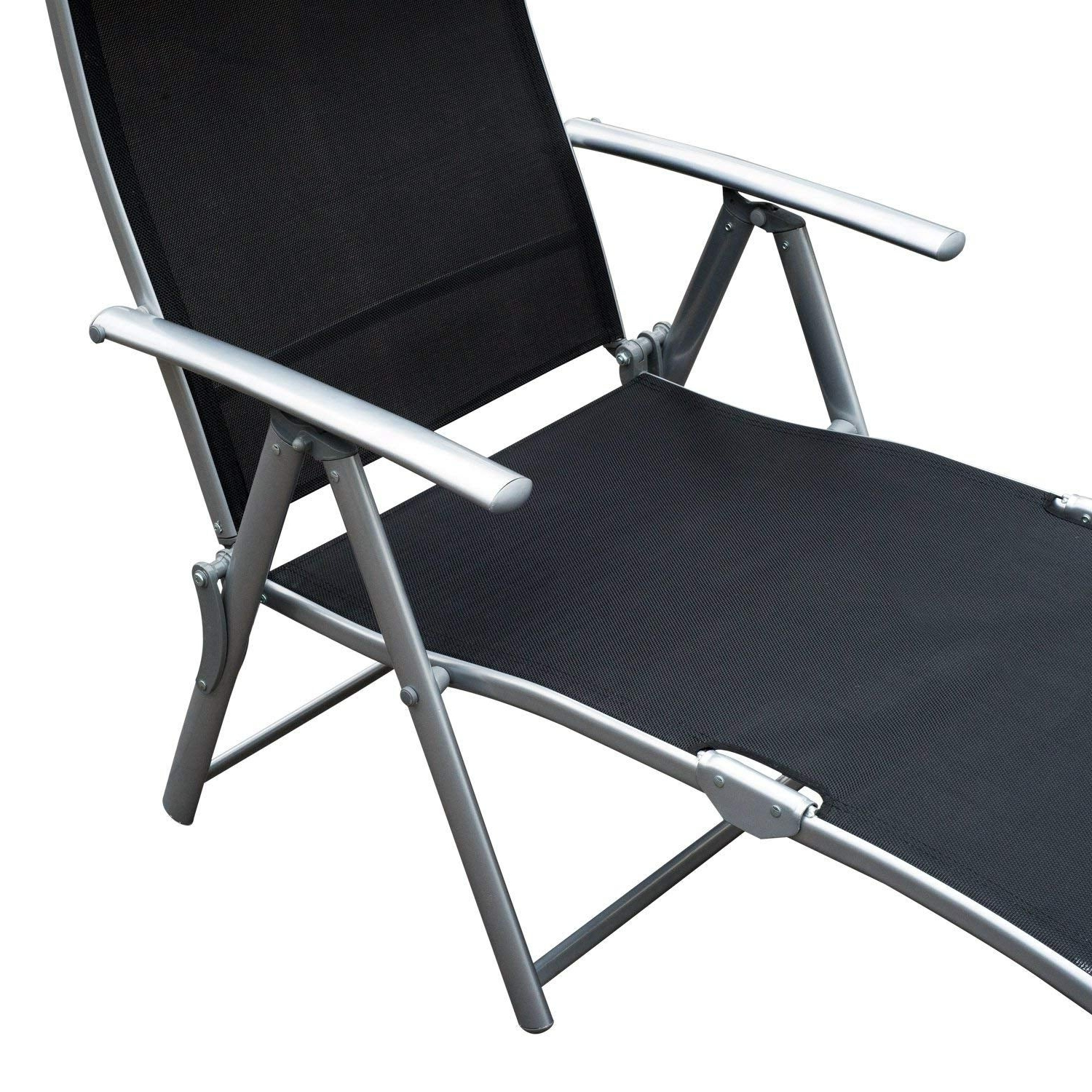Most Recent Steel Sling Fabric Outdoor Folding Chaise Lounges Regarding Outsunny Steel Sling Fabric Outdoor Folding Chaise Lounge Chair Recliner – Black (View 8 of 25)