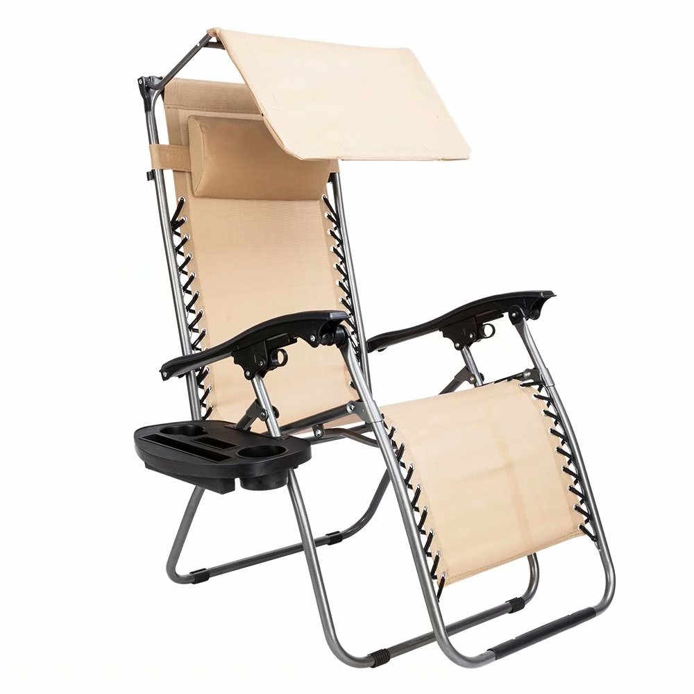Most Recently Released 2pcs Plum Blossom Lock Portable Folding Chairs With Saucer Khaki Beach Chair Regarding Plum Blossom Lock Portable Saucer Khaki Folding Chairs (Gallery 8 of 25)
