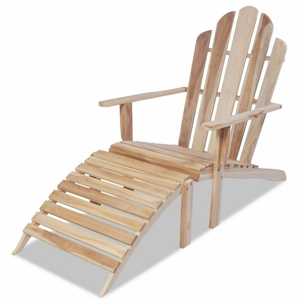 Most Recently Released Adirondack Chairs With Footrest Intended For Details About Outdoor Adirondack Chair Wood Patio Lawn Garden Footrest Deck  Furniture (View 16 of 25)