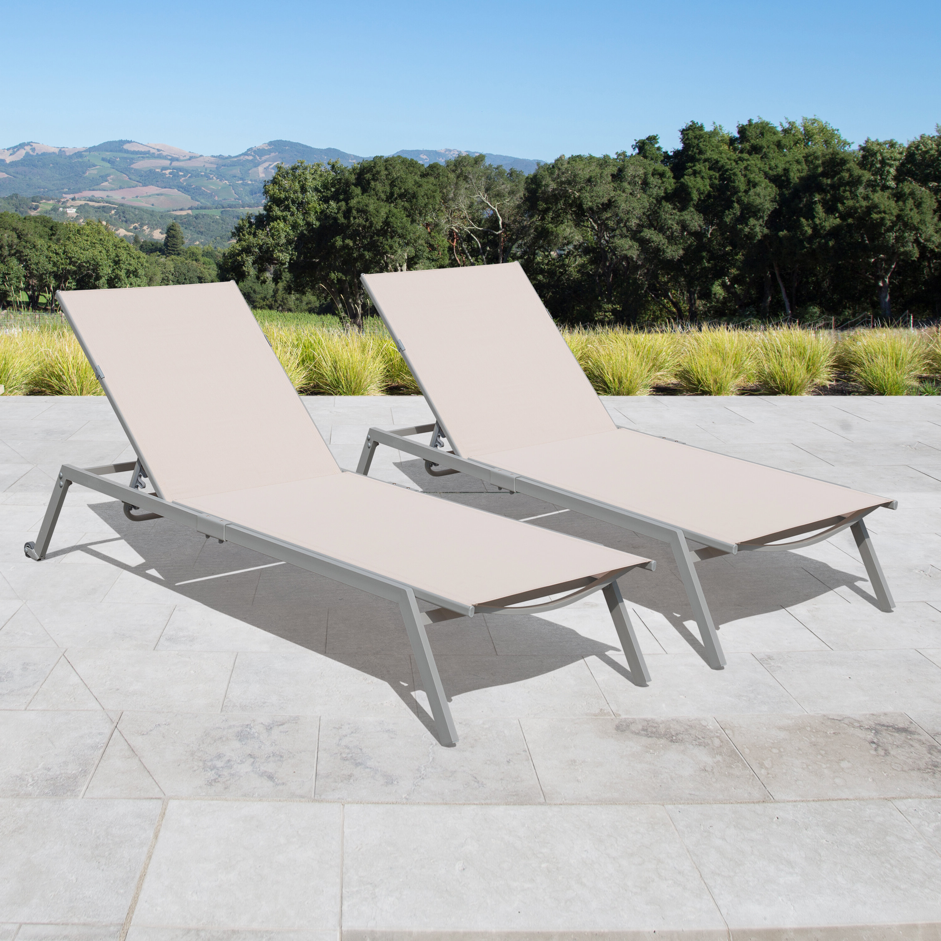 Most Recently Released Antonio Sling Fabric Adjustable Outdoor Chaise Lounges Within Rondo Adjustable Sling Reclining Chaise Lounge (View 14 of 25)