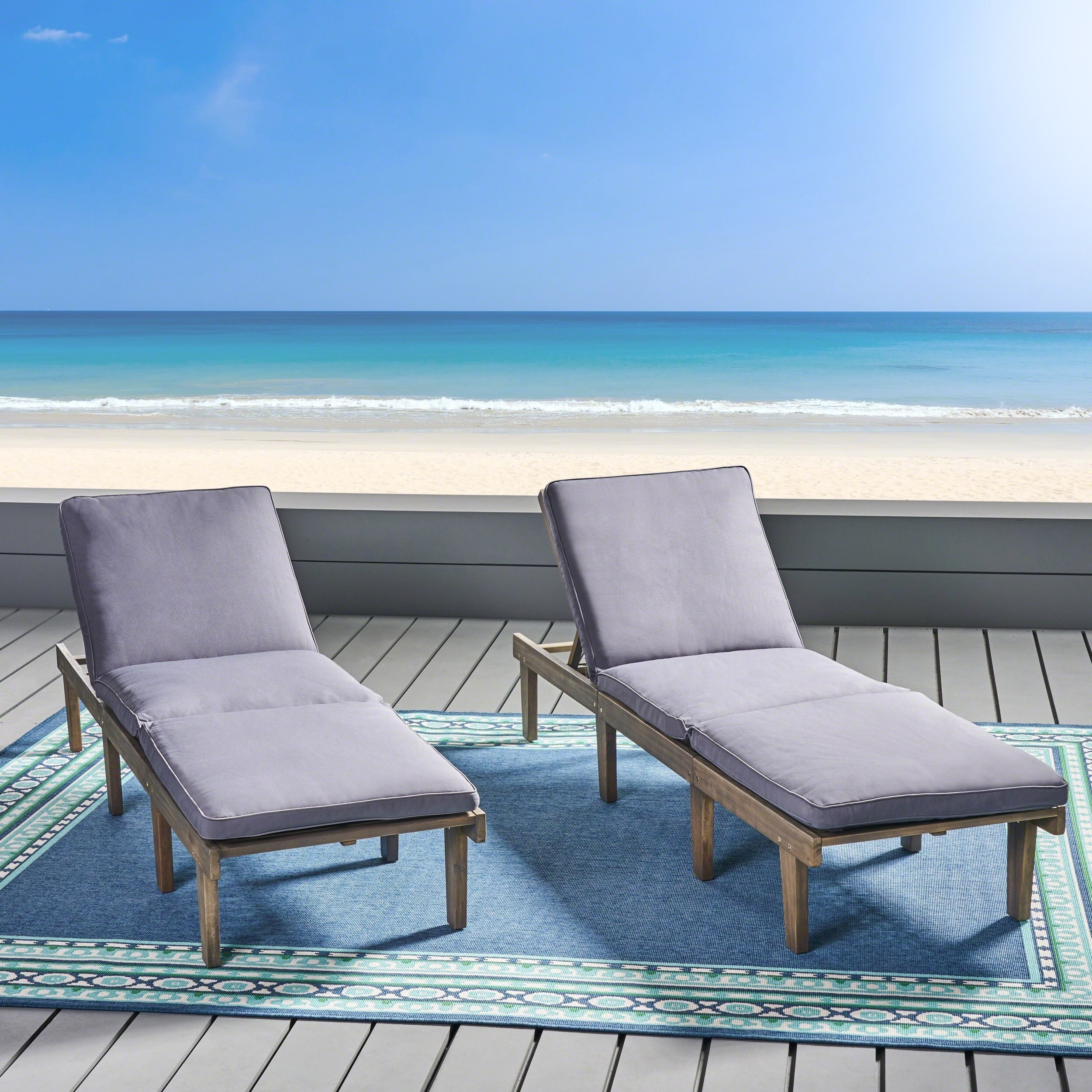 Most Recently Released Ariana Outdoor Acacia Wood Chaise Lounge With Cushion (set Of 2) Intended For Wood Blue And White Cushion Outdoor Chaise Lounge Chairs (View 2 of 25)