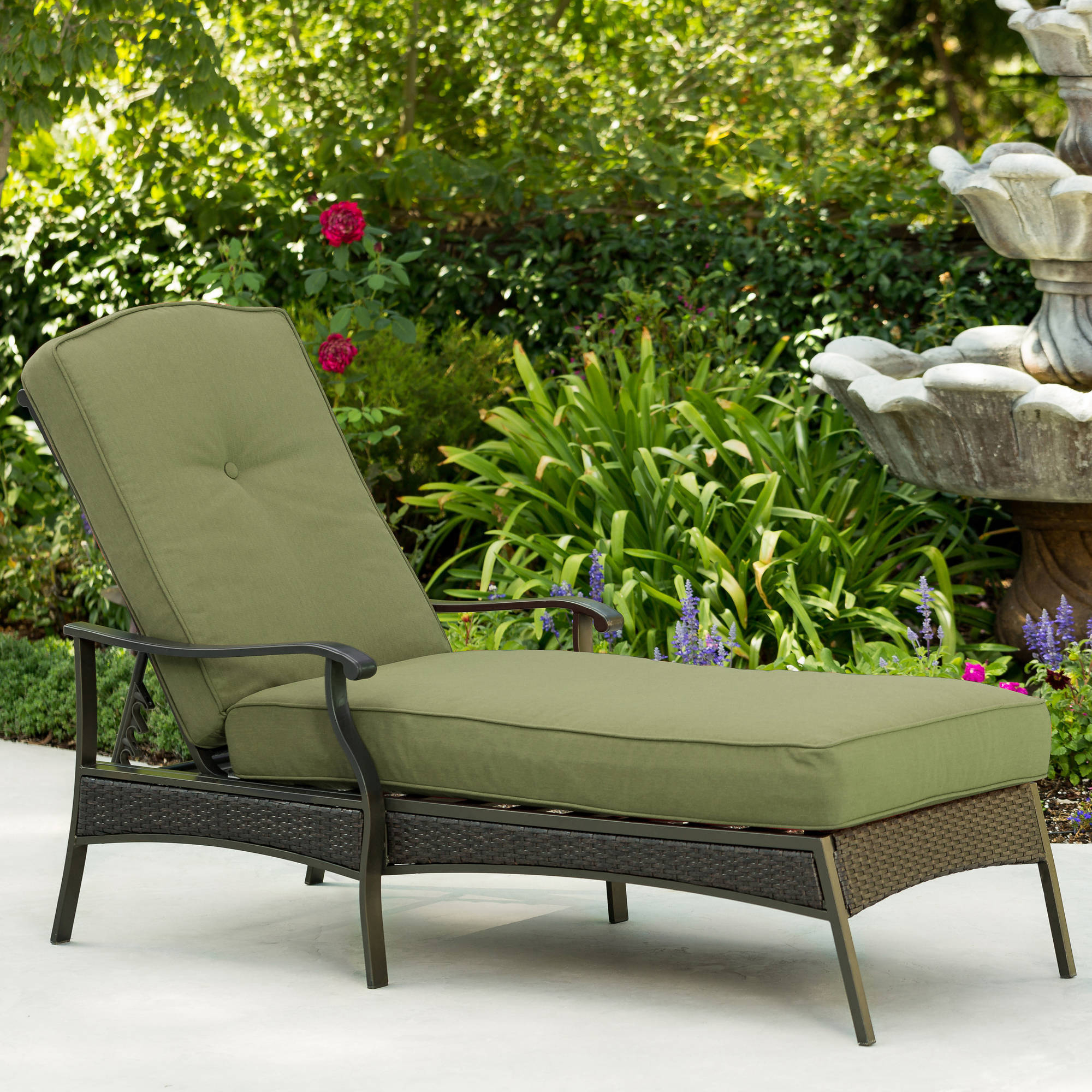 Most Recently Released Better Homes & Gardens Providence Outdoor Chaise Lounge, Green – Walmart Regarding Wood Blue And White Cushion Outdoor Chaise Lounge Chairs (View 14 of 25)
