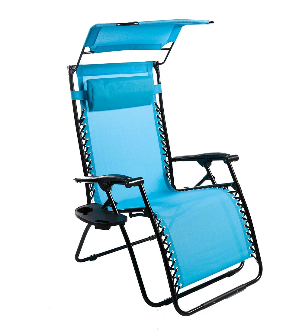 Most Recently Released Deluxe Zero Gravity Chair With Canopy, Table & Drink Holder Within Deluxe Padded Chairs With Canopy And Tray (View 9 of 25)