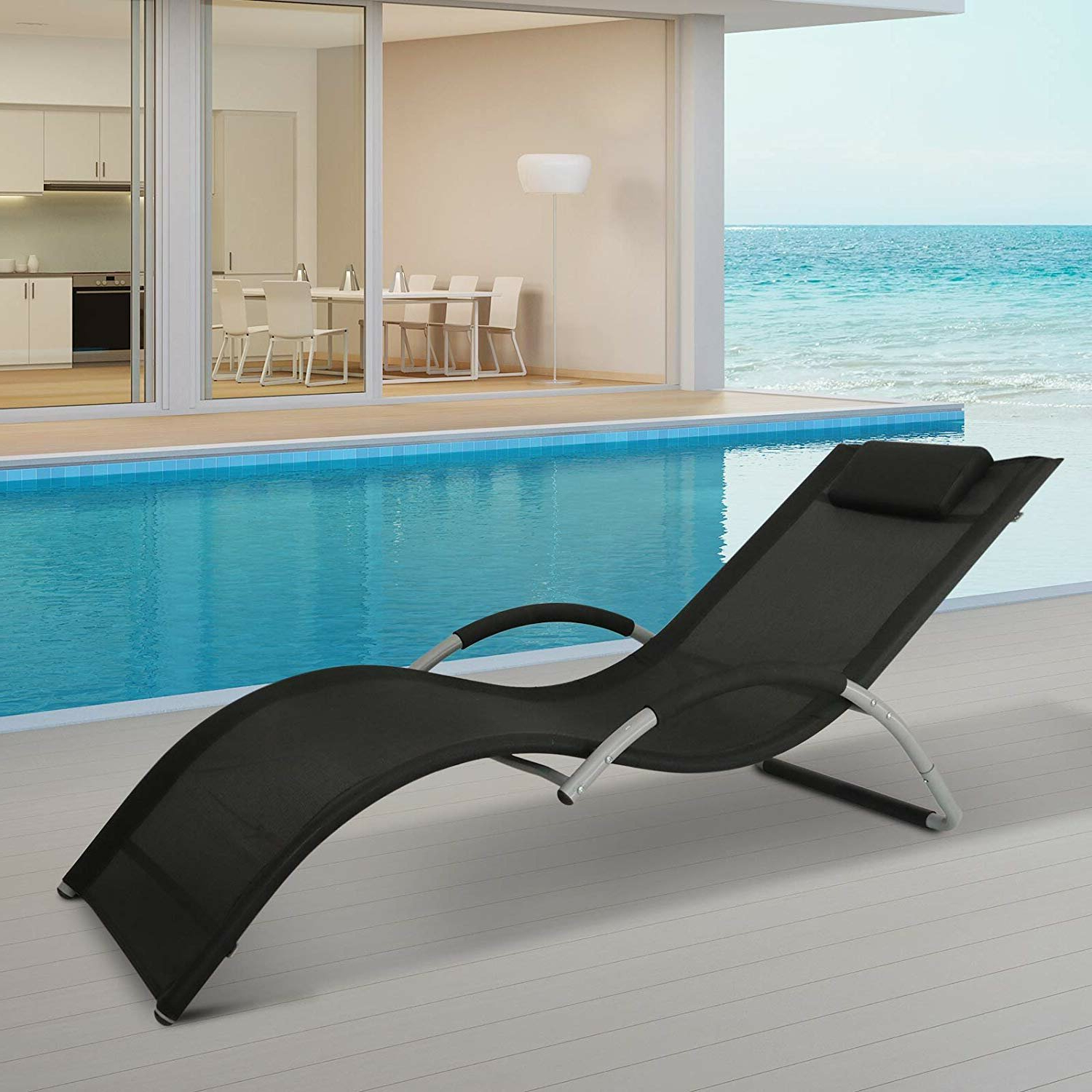 Most Recently Released Fabric Reclining Outdoor Chaise Lounges Within Stephane Fabric Reclining Chaise Lounge (View 7 of 25)