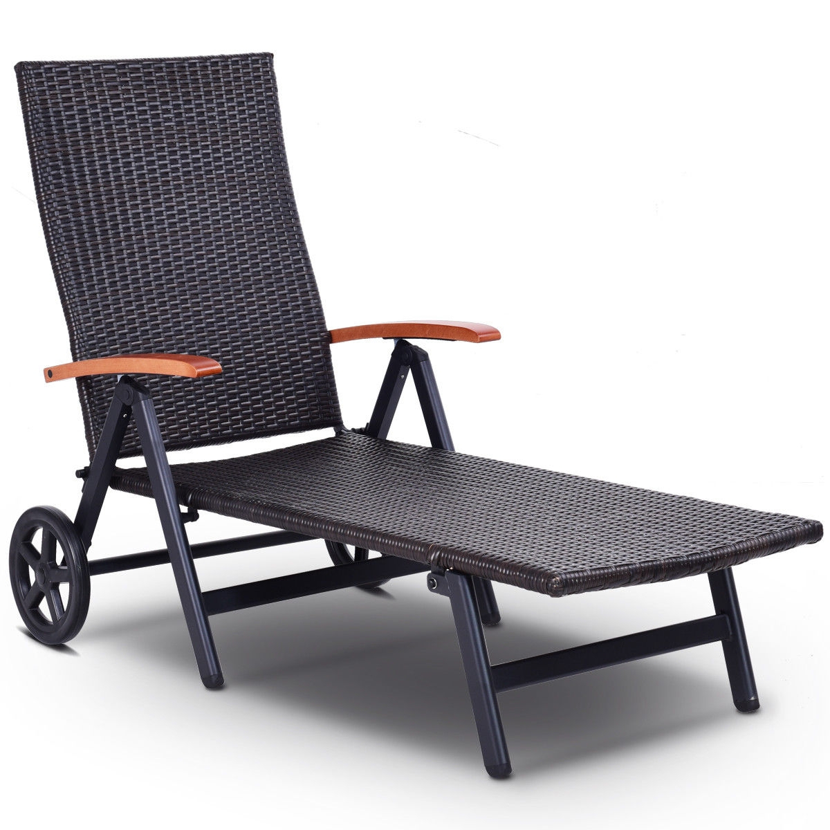 Most Recently Released Folding Back Adjustable Aluminum Rattan Recliner Lounger W/ Wheels Regarding Wicker Chaise Back Adjustable Patio Lounge Chairs With Wheels (View 7 of 25)