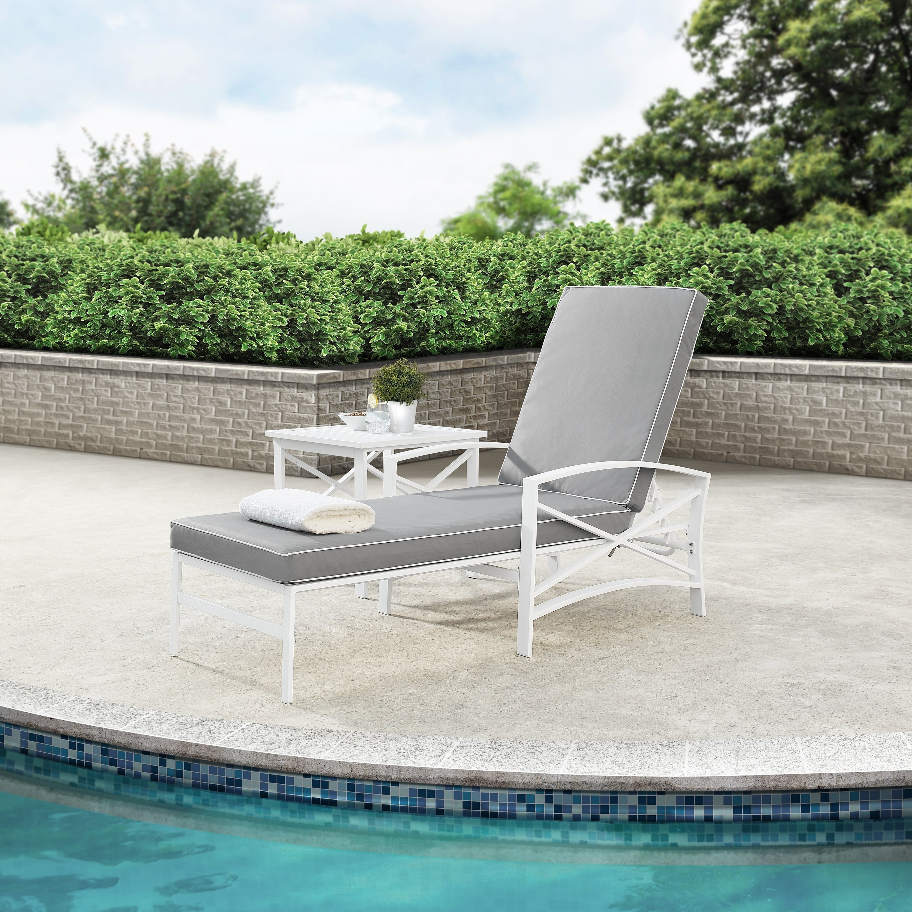 Most Recently Released Havenside Home Davis Chaise Lounge Chair In White With Grey Cushions With Lounge Chairs In White With Grey Cushions (View 17 of 25)