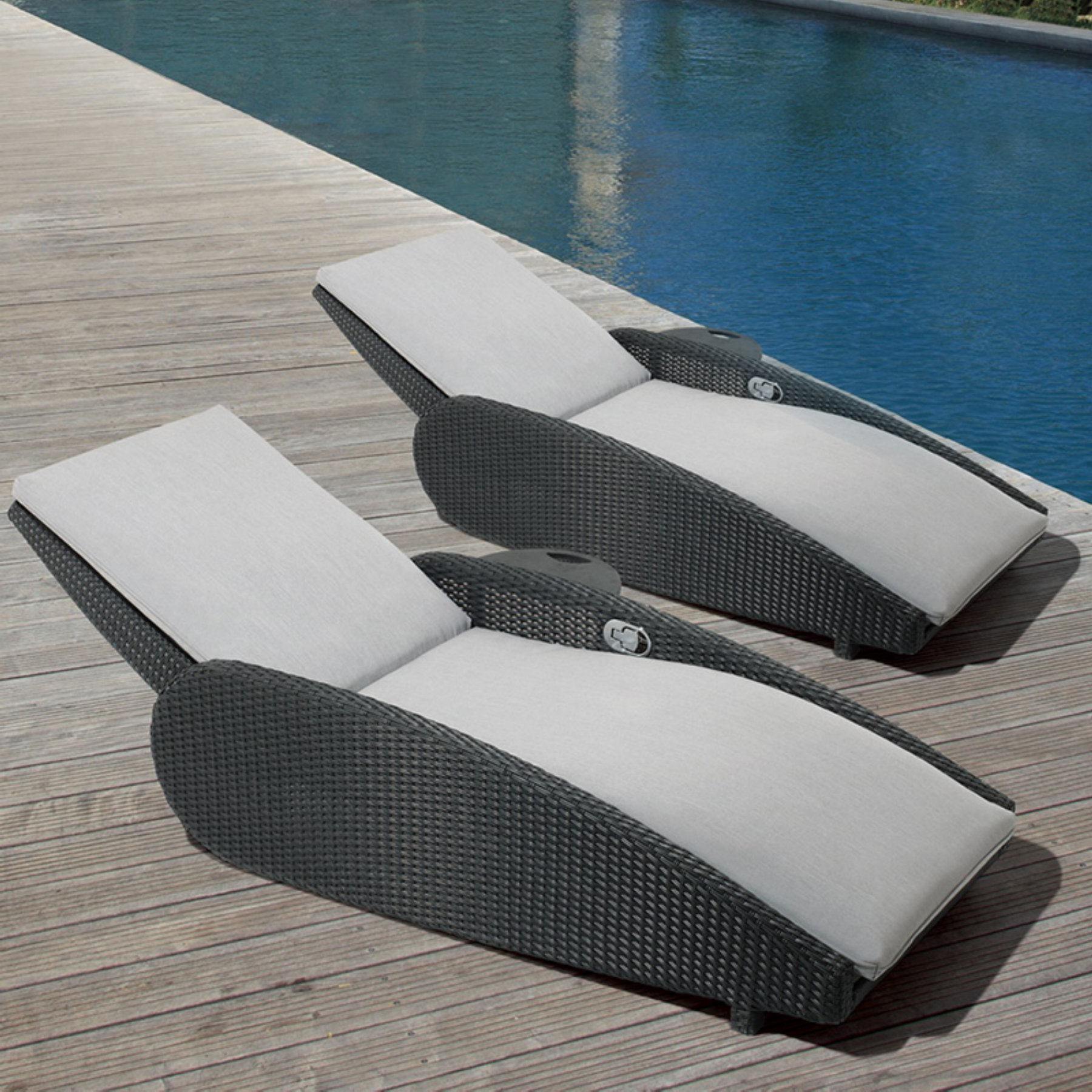 Most Recently Released Lounge Chairs In White With Grey Cushions Regarding Ove Decors Sevilla Gray Outdoor Chaise Lounge Chair – Set Of (View 18 of 25)