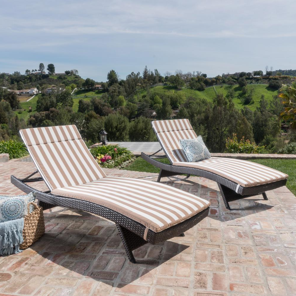 Most Recently Released Noble House Miller Multi Brown Armless 2 Piece Wicker Outdoor Chaise Lounge Set With Brown/ White Stripe Cushions Intended For Striped Outdoor Chaises With Umbrella (View 21 of 25)