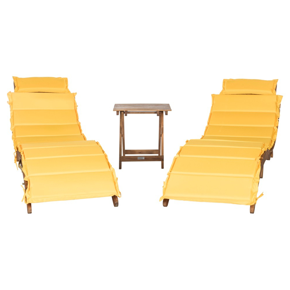 Most Recently Released Outdoor Living Pacifica Piece Lounge Sets Throughout Pacifica 3pc Wood Patio Lounge Set – Teak Brown/yellow (View 7 of 25)