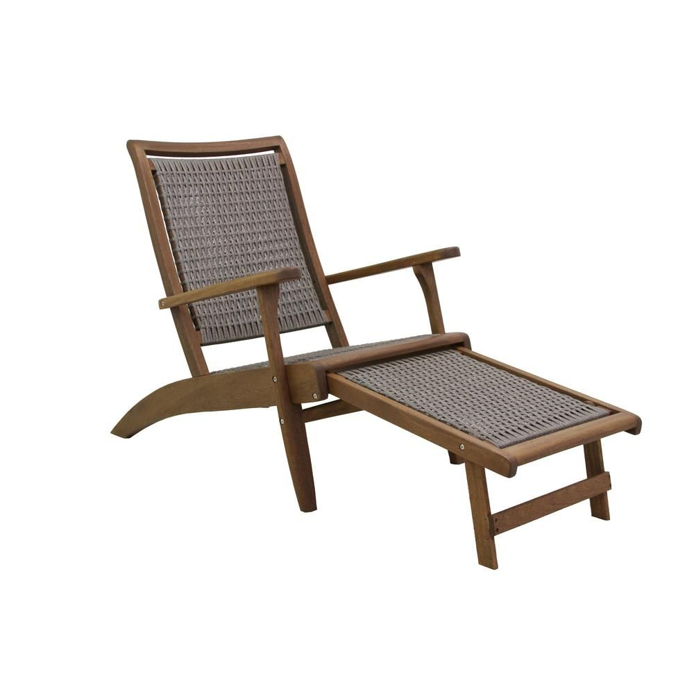 Most Recently Released Outdoor Patio Lounge Chairs With Ottoman Regarding Outdoor Interiors Grey Wicker And Eucalyptus Outdoor Lounge (View 3 of 25)