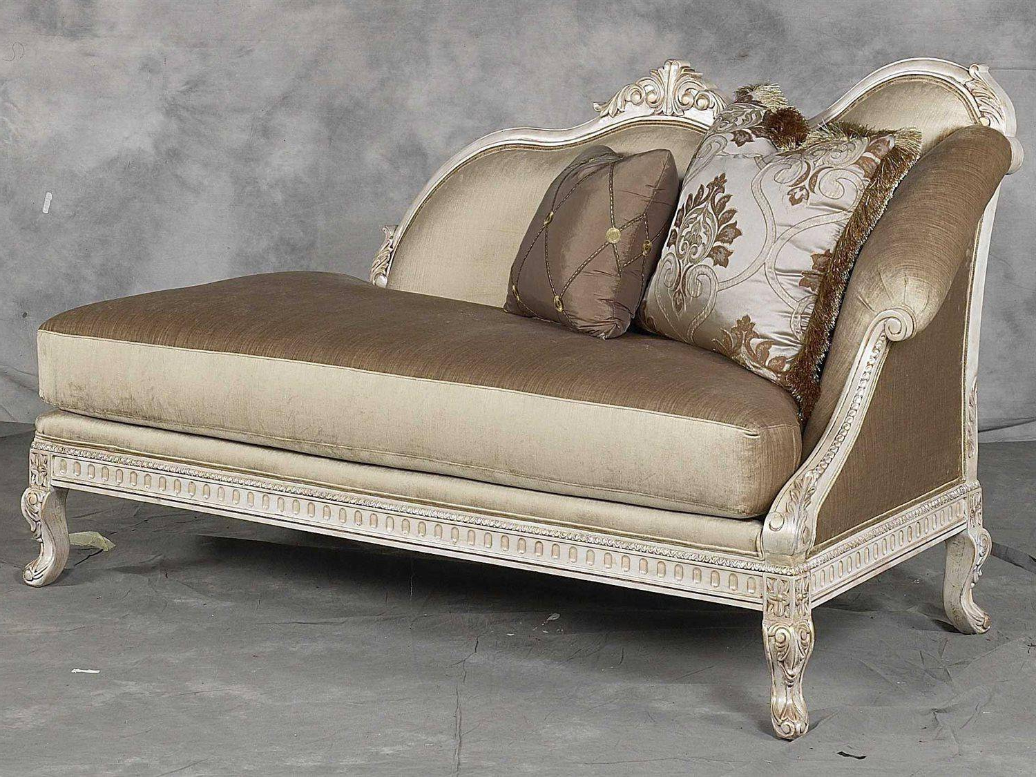 Most Recently Released Pearl Chaise Lounges Throughout Benetti's Perla Luxury Golden Pearl Silk Chenille Silver Gold Frame Chaise Lounge (Gallery 13 of 25)