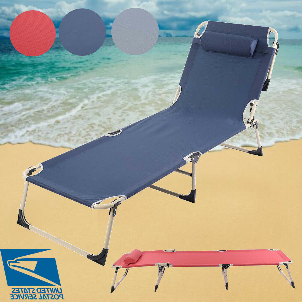 Most Recently Released Portable Folding Chaise Lounge Chair Outdoor Pool Beach Yard Office Recliner Within Extra Wide Outdoor Lounge Chairs (View 12 of 25)