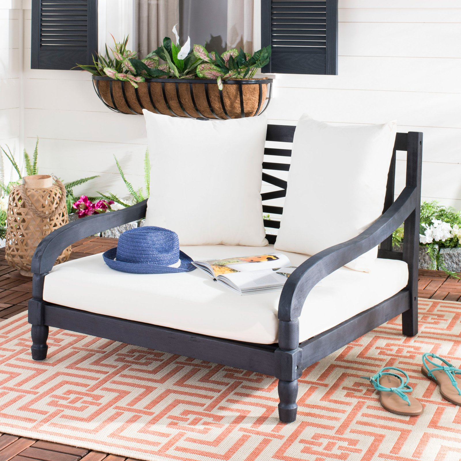 Most Recently Released Safavieh Pomona Outdoor Contemporary Lounger With Cushion Inside Outdoor Living Pomona Loungers (View 8 of 25)