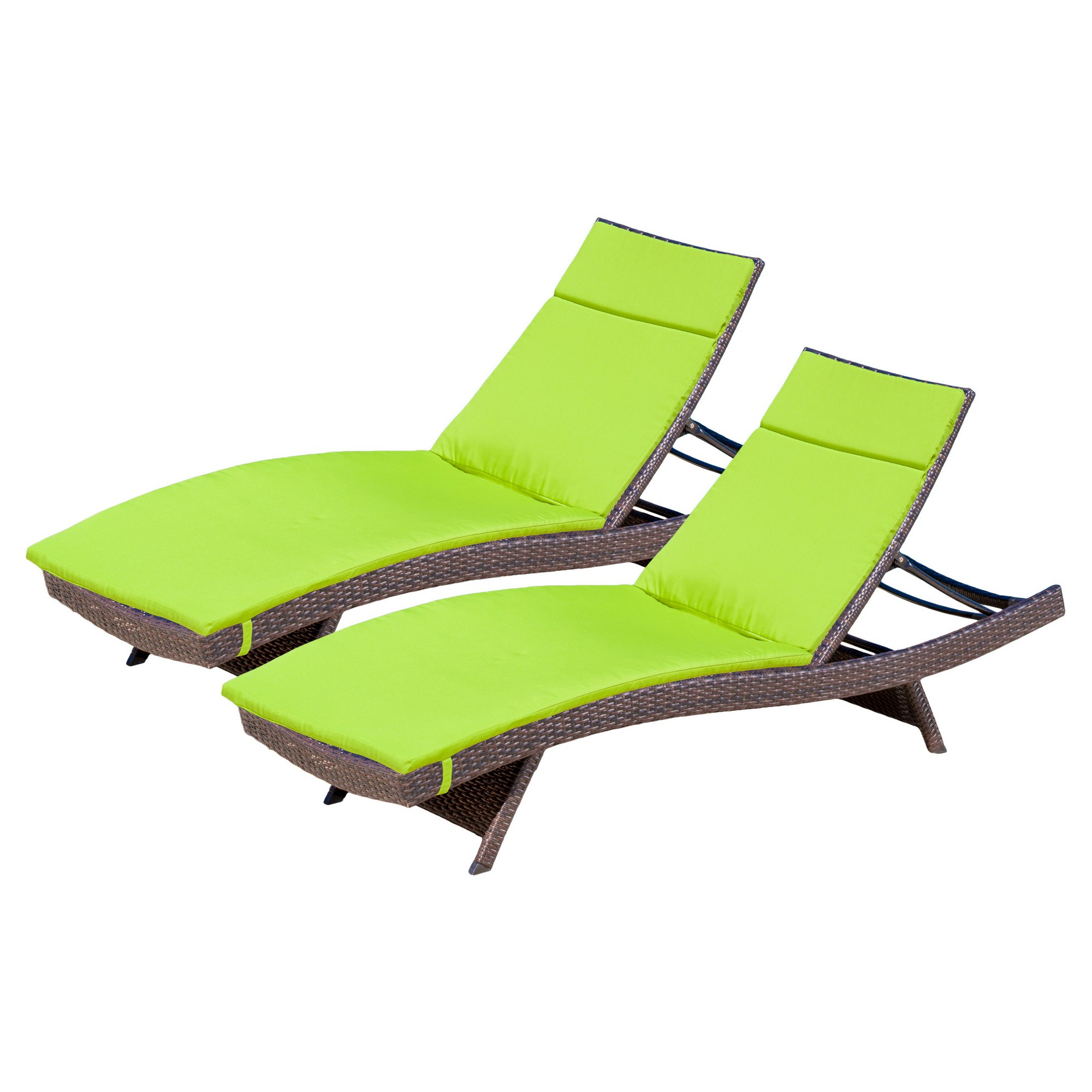 Most Recently Released Salem Set Of 2 Brown Wicker Adjustable Chaise Lounge – Green For Outdoor Wicker Adjustable Chaise Lounges With Cushions (View 12 of 25)