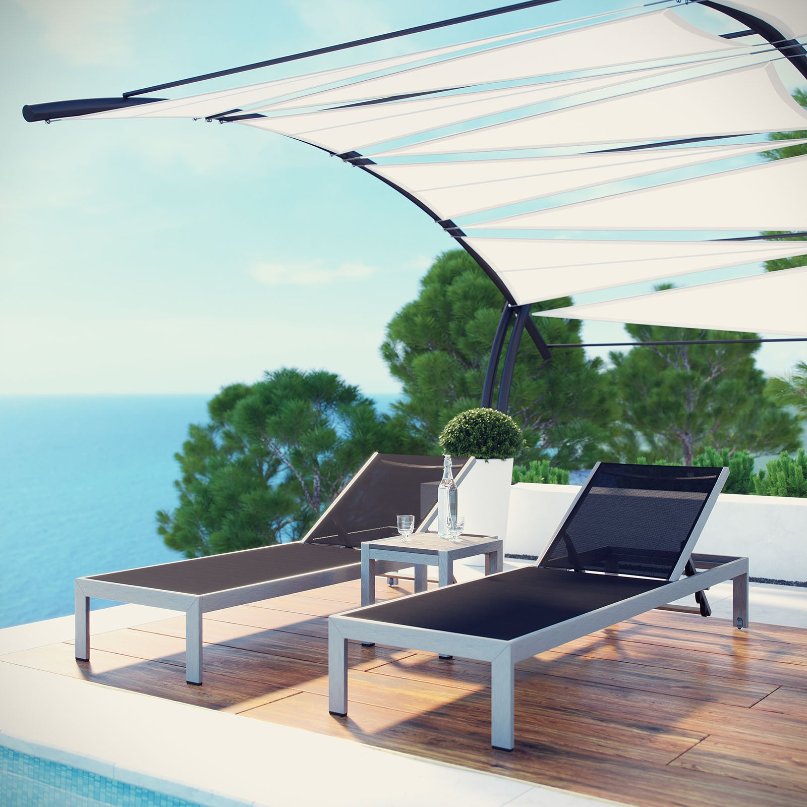 Most Recently Released Shore Aluminum Outdoor Chaise Lounges With Regard To Shore Aluminum Outdoor Chaise Set Of 3 (Gallery 8 of 25)