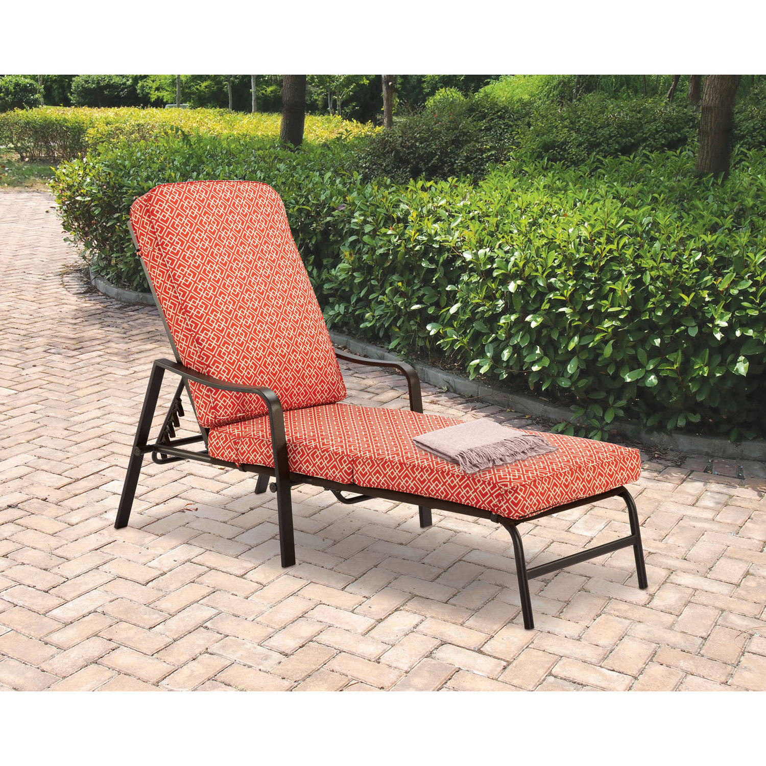 Most Recently Released Wicker Chaise Back Adjustable Patio Lounge Chairs With Wheels With Regard To Mainstays Outdoor Chaise Lounge, Orange Geo Pattern (View 10 of 25)