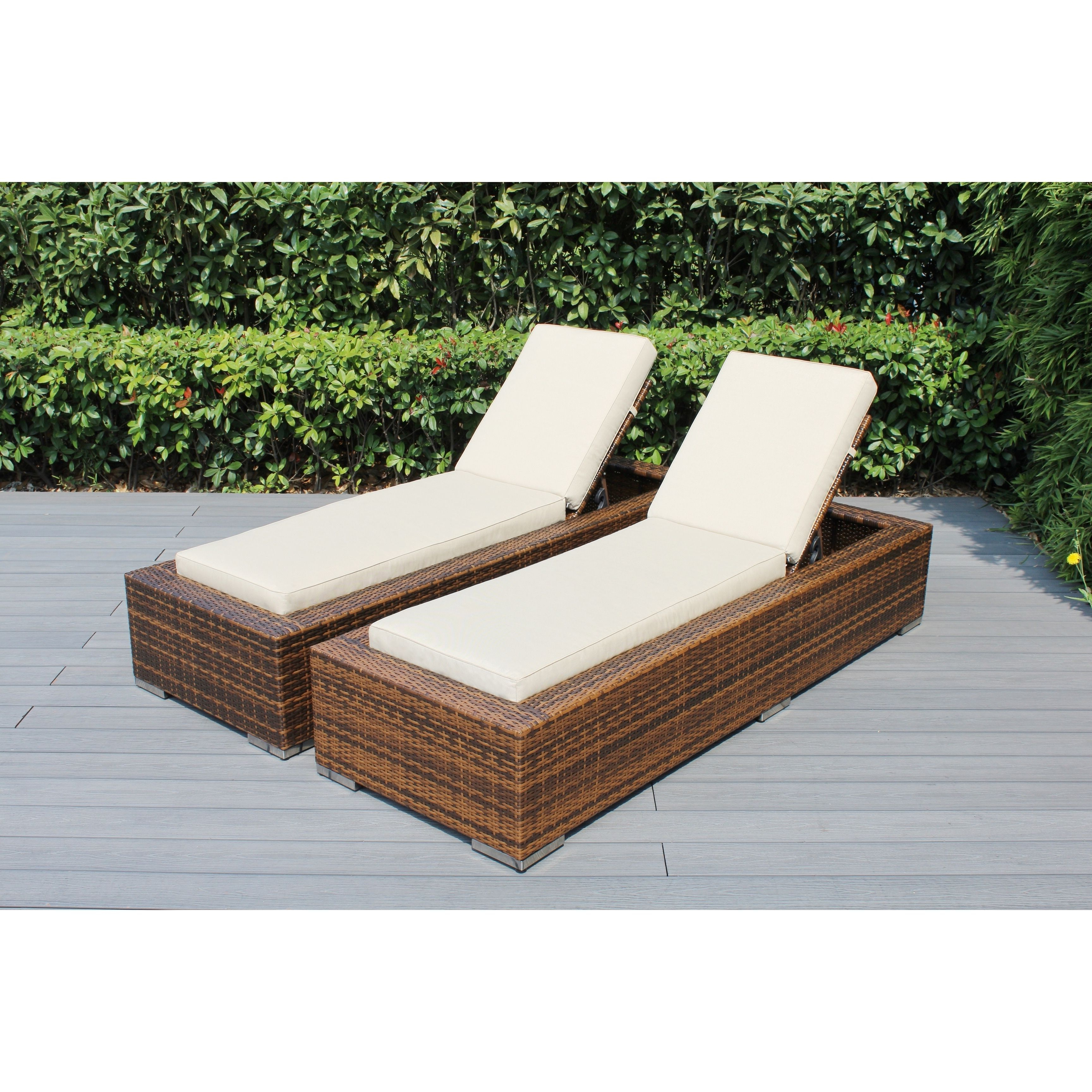 Most Up To Date 2 Piece Outdoor Wicker Chaise Lounge Chairs Inside Ohana Outdoor Patio 2 Piece Mixed Brown Wicker Chaise Lounge (View 15 of 25)