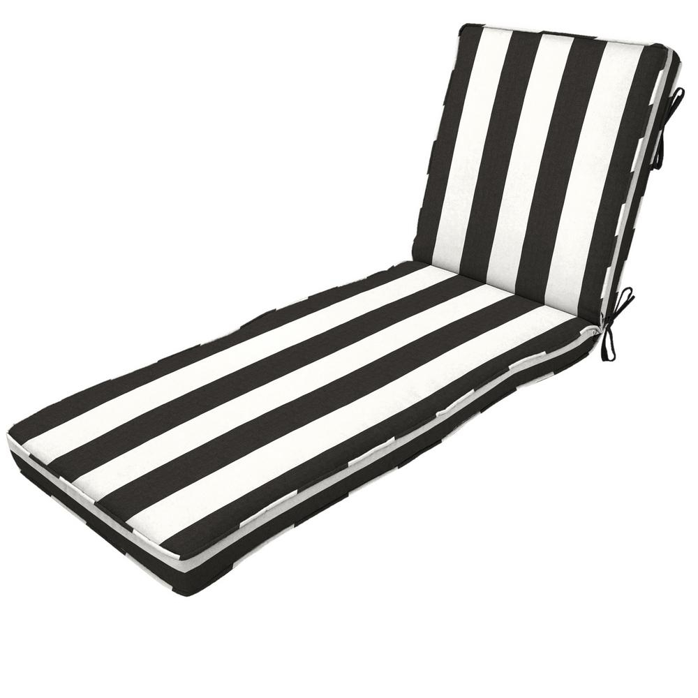 Most Up To Date Chaise Lounge Cushions – Outdoor Cushions – The Home Depot Within Chaise Lounge Chairs In White With Navy Cushions (View 10 of 25)