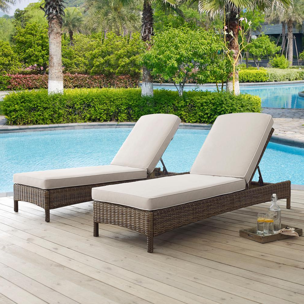 Most Up To Date Crosley Bradenton Wicker Outdoor Chaise Lounge With Sand Cushions With Bradenton Outdoor Wicker Chaise Lounges With Cushions (View 7 of 25)