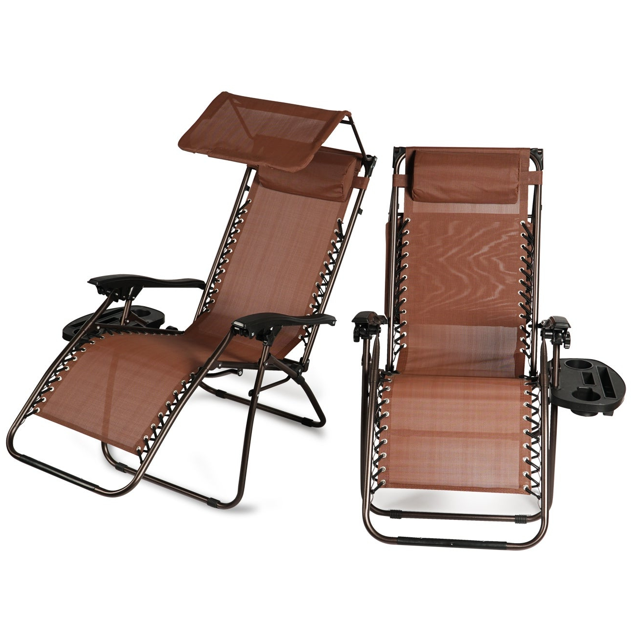 Most Up To Date Double Reclining Lounge Chairs With Canopy For Belleze 2 Pack Zero Gravity Chairs Canopy Shade Headrest Pillows Recliner With Tray, Brown (View 13 of 25)