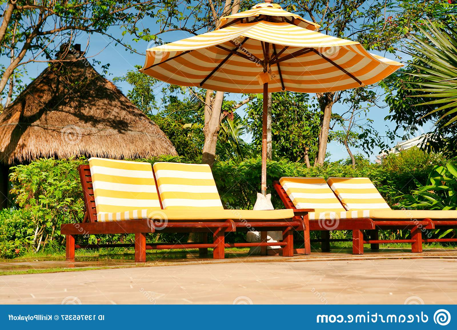 Most Up To Date Empty Chaise Lounges With Yellow White Striped Mattresses Inside Striped Outdoor Chaises With Umbrella (View 6 of 25)