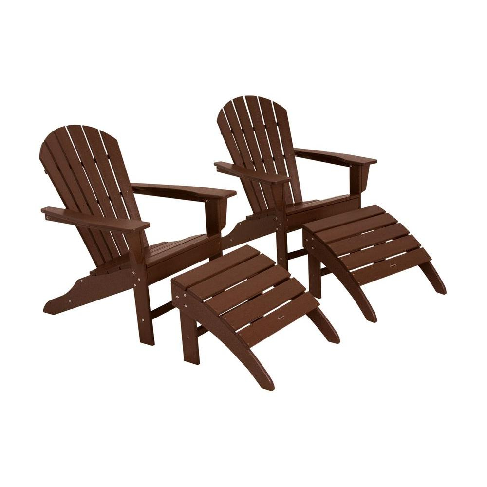 Most Up To Date Mahogany Adirondack Chairs With Ottoman In Polywood South Beach Mahogany Plastic Patio Adirondack Chair (2 Pack) (Gallery 7 of 25)
