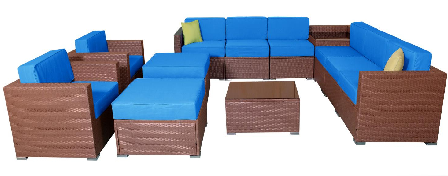 Most Up To Date Mcombo Patio Furniture Sectional Sets Wicker Rattan Couch Sofa Chair Luxury Big Size 13 Pc Blue 6081 13pc Bl Intended For Outdoor 13 Piece Wicker Patio Sets With Cushions (View 15 of 25)