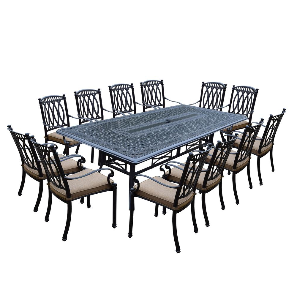 Most Up To Date Morocco Aluminum 13 Piece Outdoor Dining Set With Sunbrella Beige Cushions Pertaining To Outdoor 13 Piece Wicker Patio Sets With Cushions (View 19 of 25)