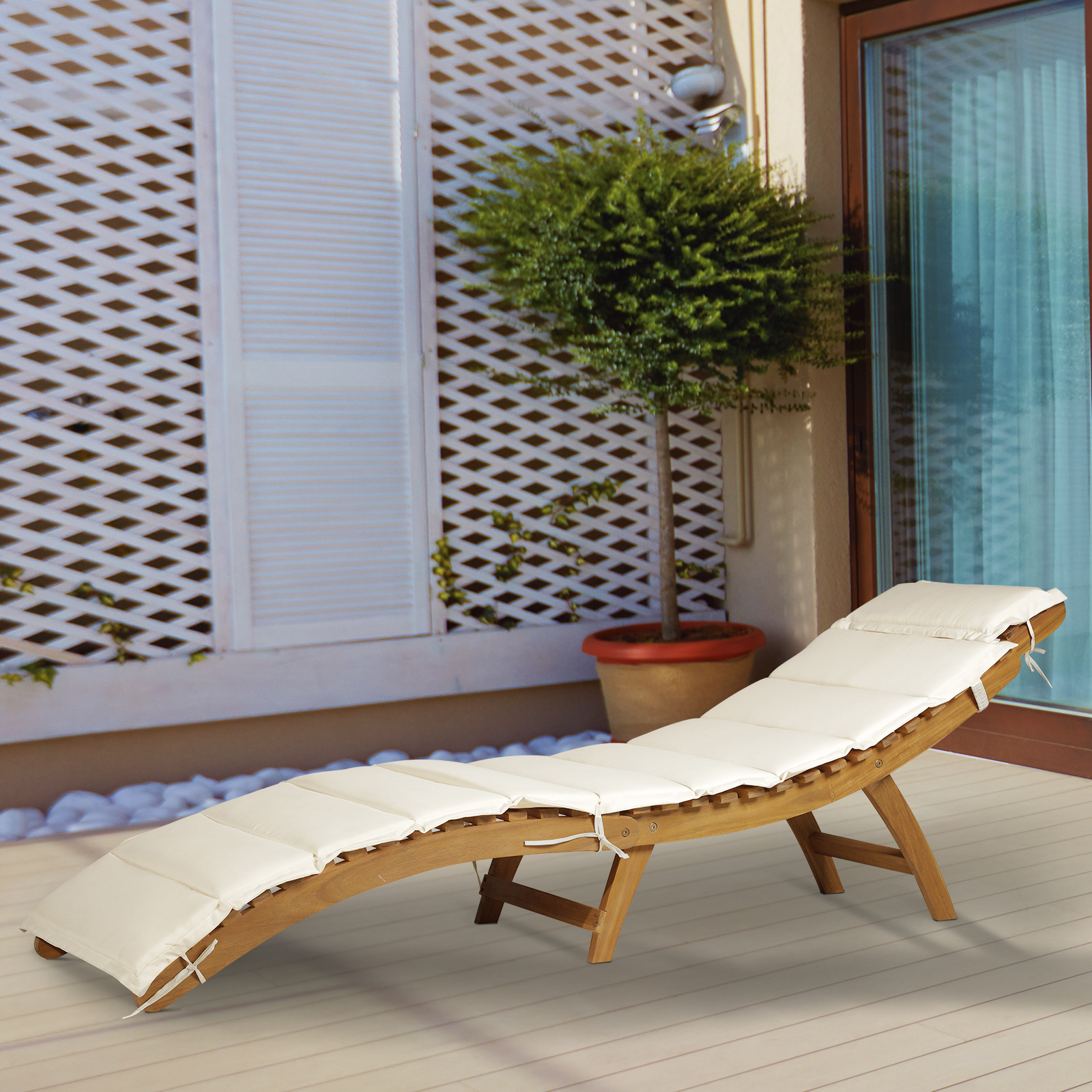 Most Up To Date Outdoor Acacia Wood Chaise Lounges With Cushion Throughout Details About Outsunny Acacia Wood Folding Outdoor Chaise Sun Lounge Chair With Cushion Pad (View 14 of 25)