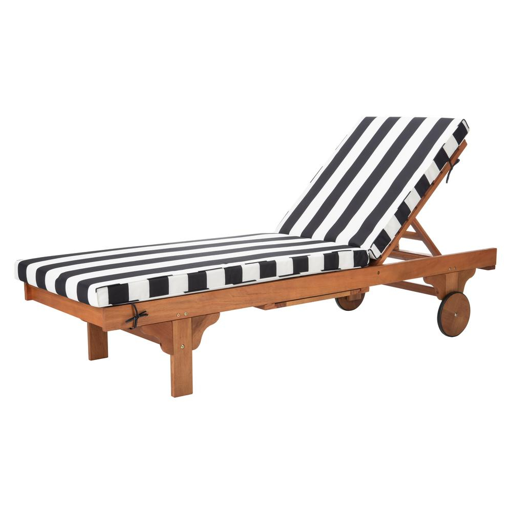Most Up To Date Outdoor Adjustable Wood Chaise Lounges In Safavieh Newport Natural Brown Adjustable Wood Outdoor Lounge Chair With Black And White Cushion (View 5 of 25)