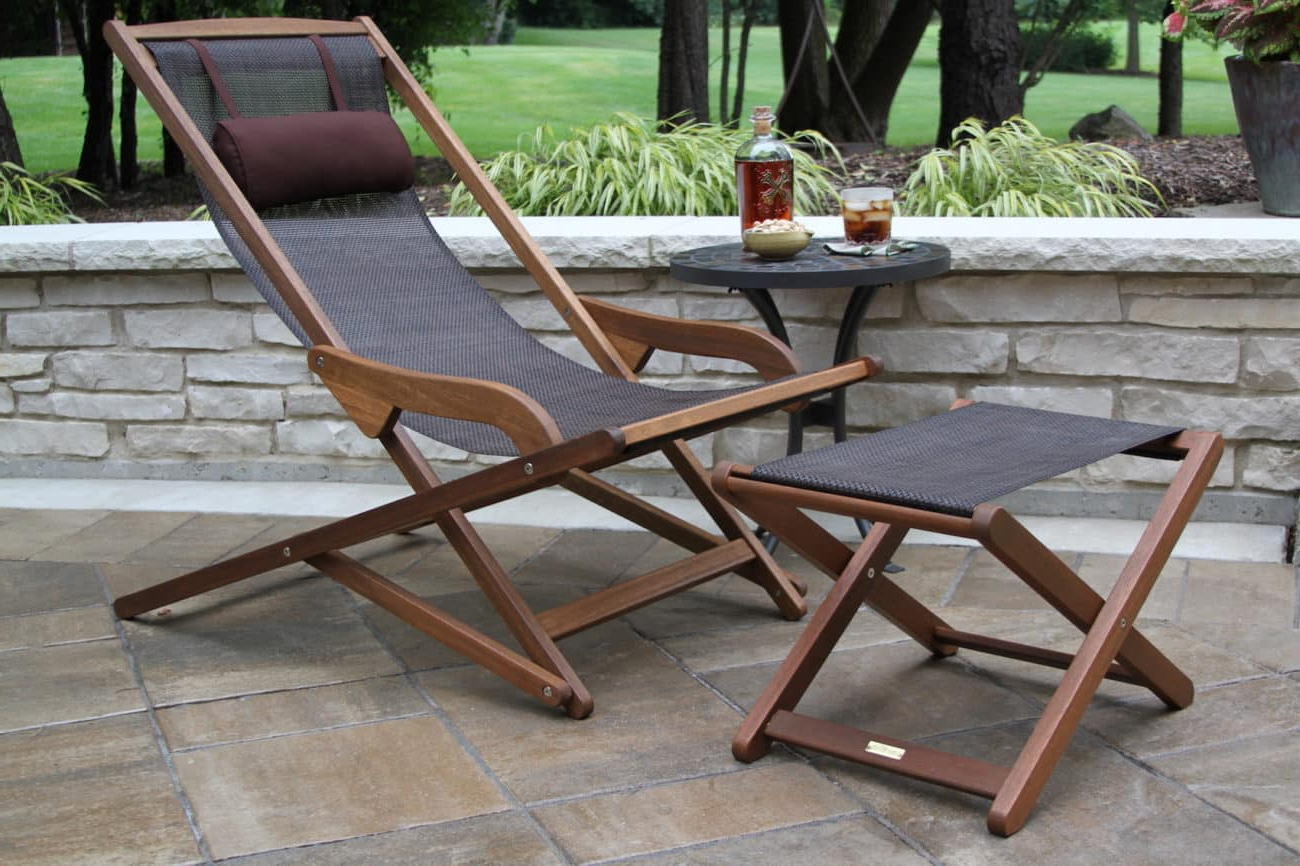 Most Up To Date Outdoor Sling Eucalyptus Chaise Loungers For Eucalyptus Hardwood & Brown Sling Lounger For Patios, Decks (View 11 of 25)