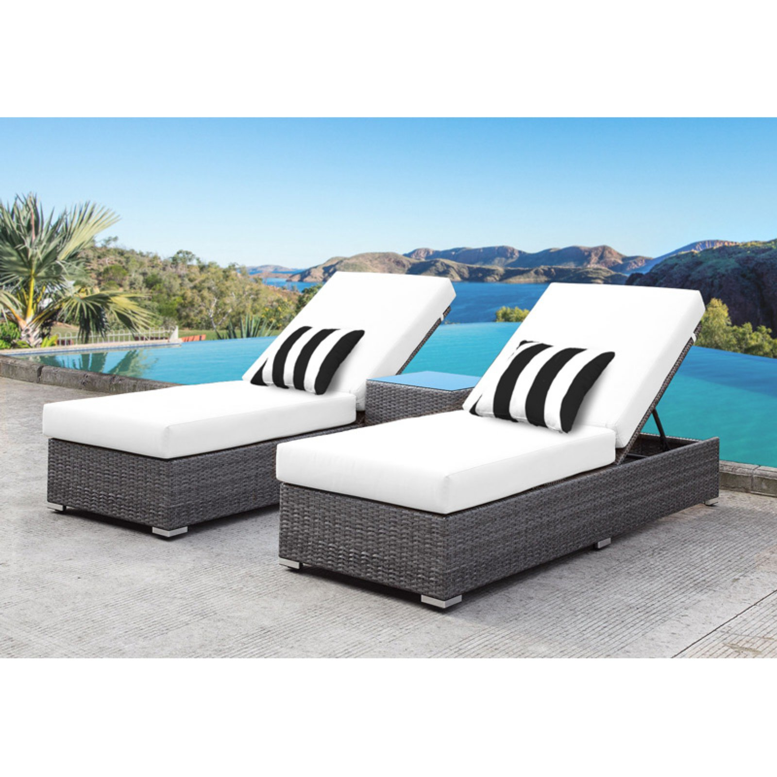 Most Up To Date Outdoor Solis Lusso Rattan Wicker 3 Piece Patio Chaise Intended For Outdoor 3 Piece Wicker Chaise Lounges And Table Sets (View 15 of 25)