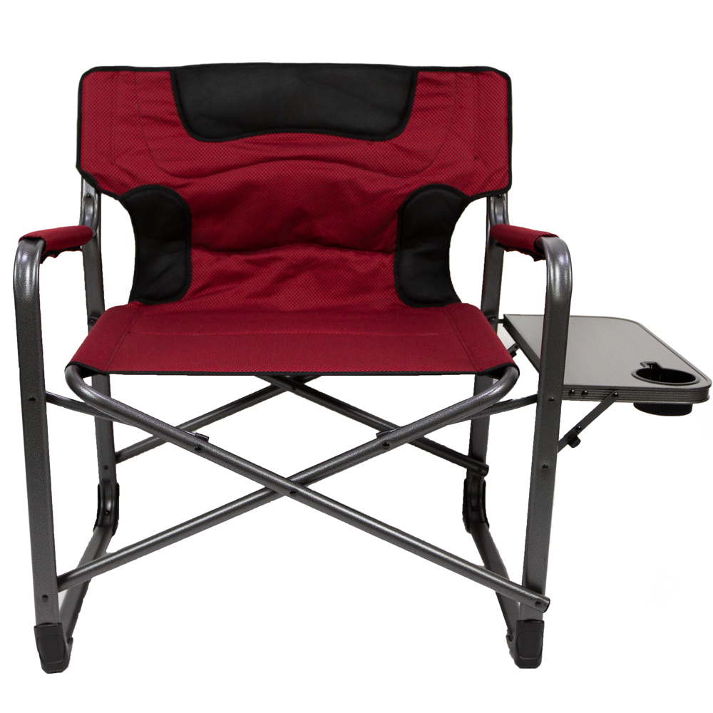 Most Up To Date Oversize Wider Armrest Padded Lounge Chairs Regarding Ozark Trail Xxl Folding Padded Director Chair With Side Table, Red 600 Lb  Capacity (View 7 of 25)