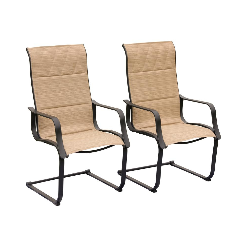 Most Up To Date Patio Festival Spring Padded Sling Outdoor Dining Chair In Beige (2 Pack) Inside Canvas Patio Sling Chairs (Gallery 13 of 25)