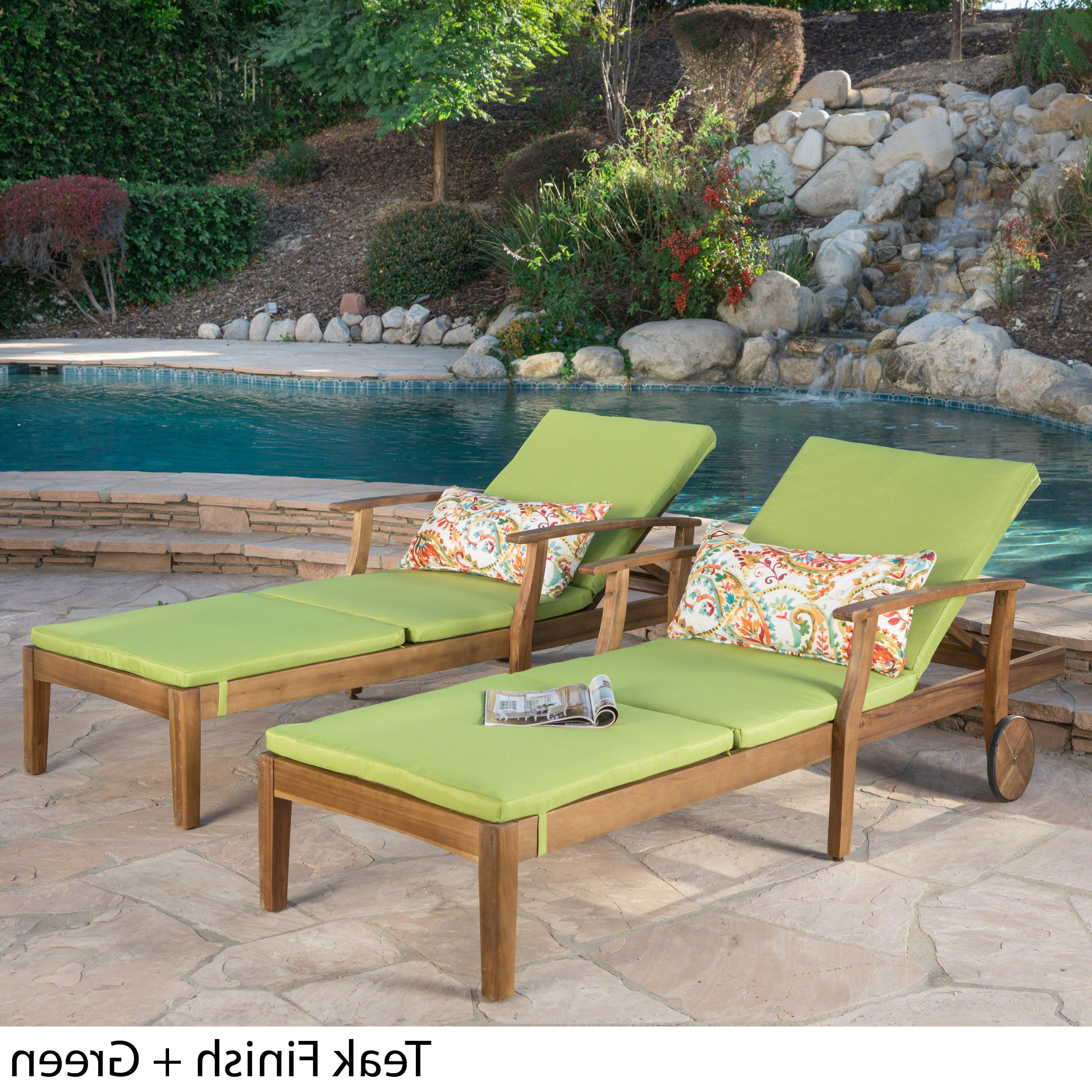 Most Up To Date Perla Outdoor Acacia Wood Chaise Lounge With Cushion (Set Of 2) Christopher Knight Home Throughout Perla Outdoor Acacia Wood Chaise Lounge With Cushion (View 9 of 25)