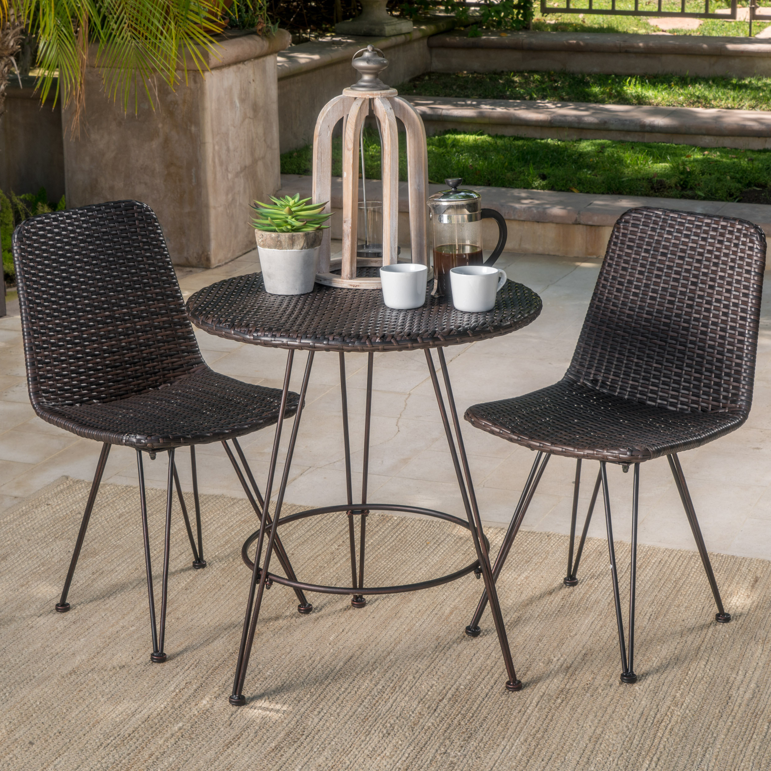 Most Up To Date Prewitt Outdoor Wicker 3 Piece Bistro Set Regarding 3 Piece Patio Lounger Sets (View 15 of 25)