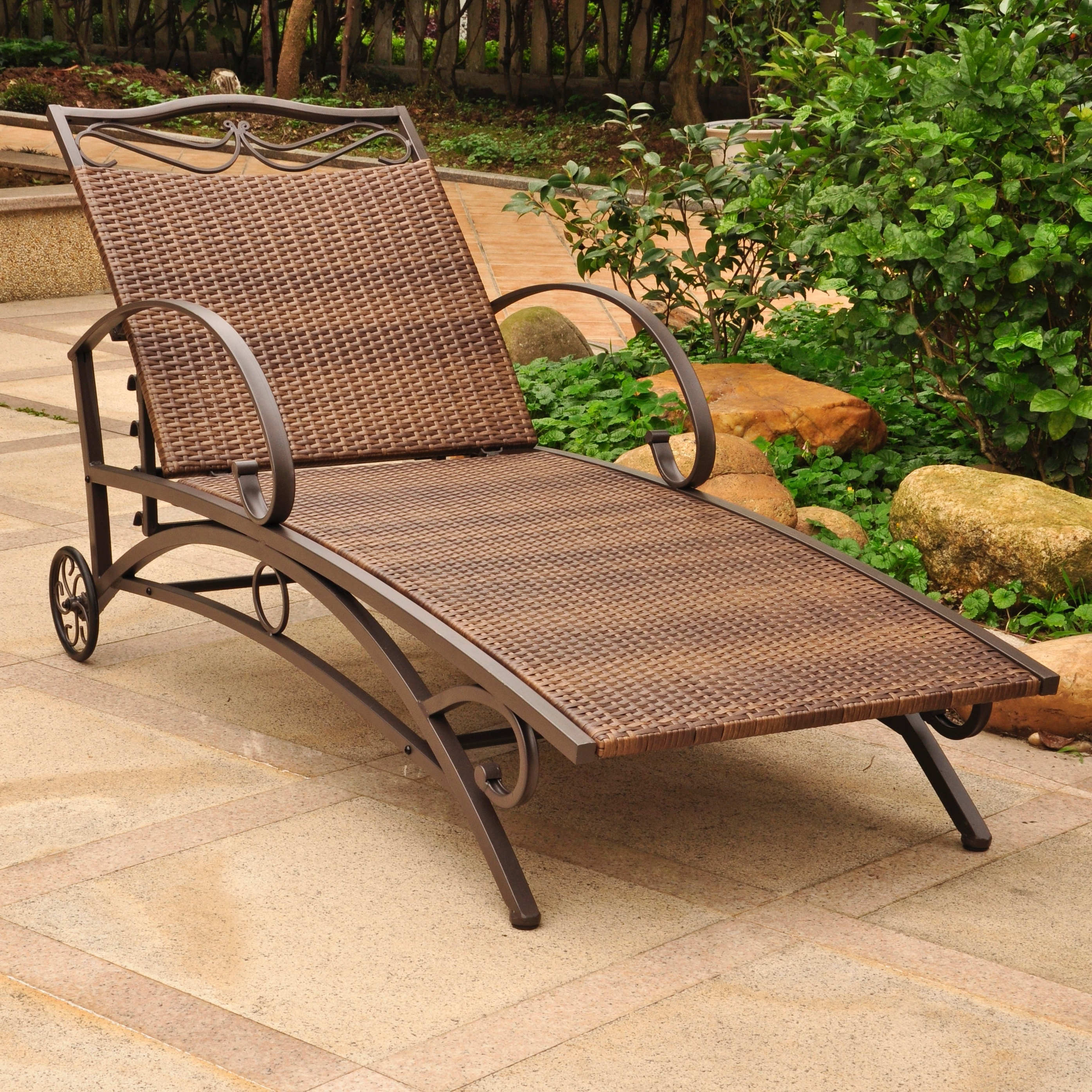 Multi Position Iron Chaise Lounges In Favorite International Caravan Valencia Resin Wicker/ Steel Frame Multi Position Chaise Lounge (Gallery 12 of 25)