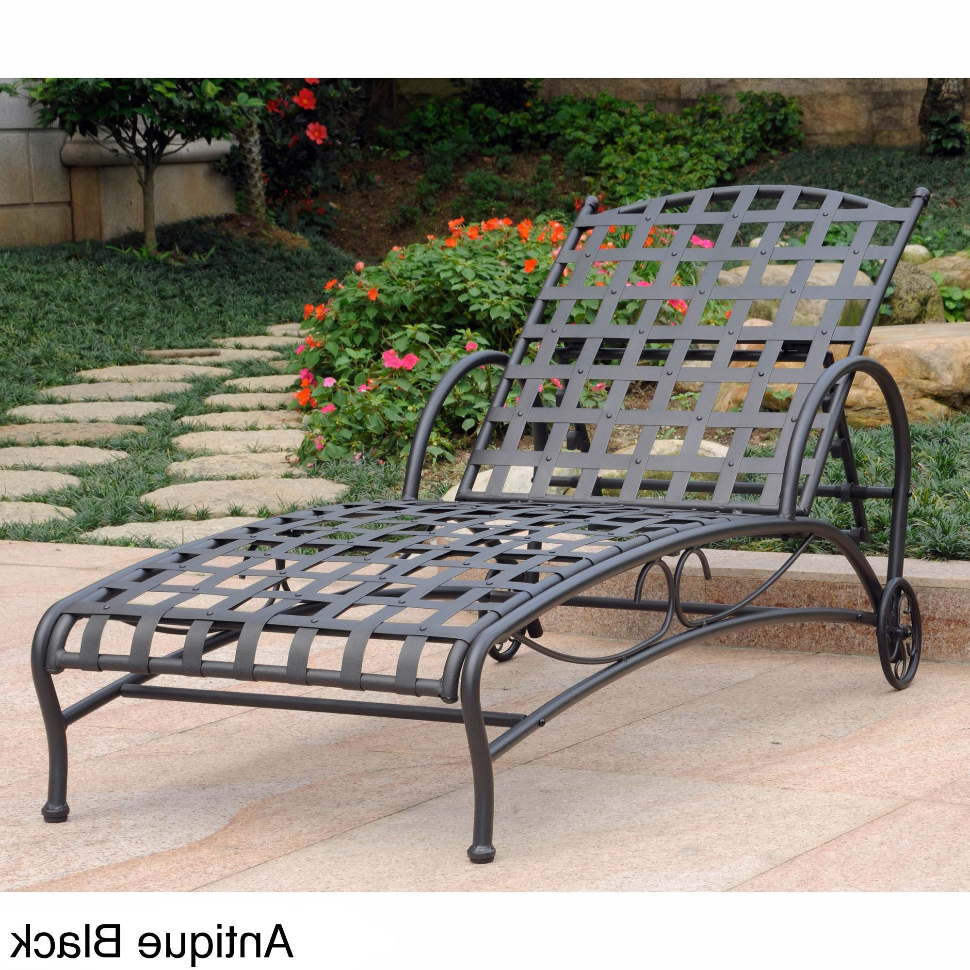 Multi Position Iron Chaise Lounges Regarding Most Popular This Santa Fe Nailhead Multi Position Patio Chaise Lounge Is (Gallery 4 of 25)