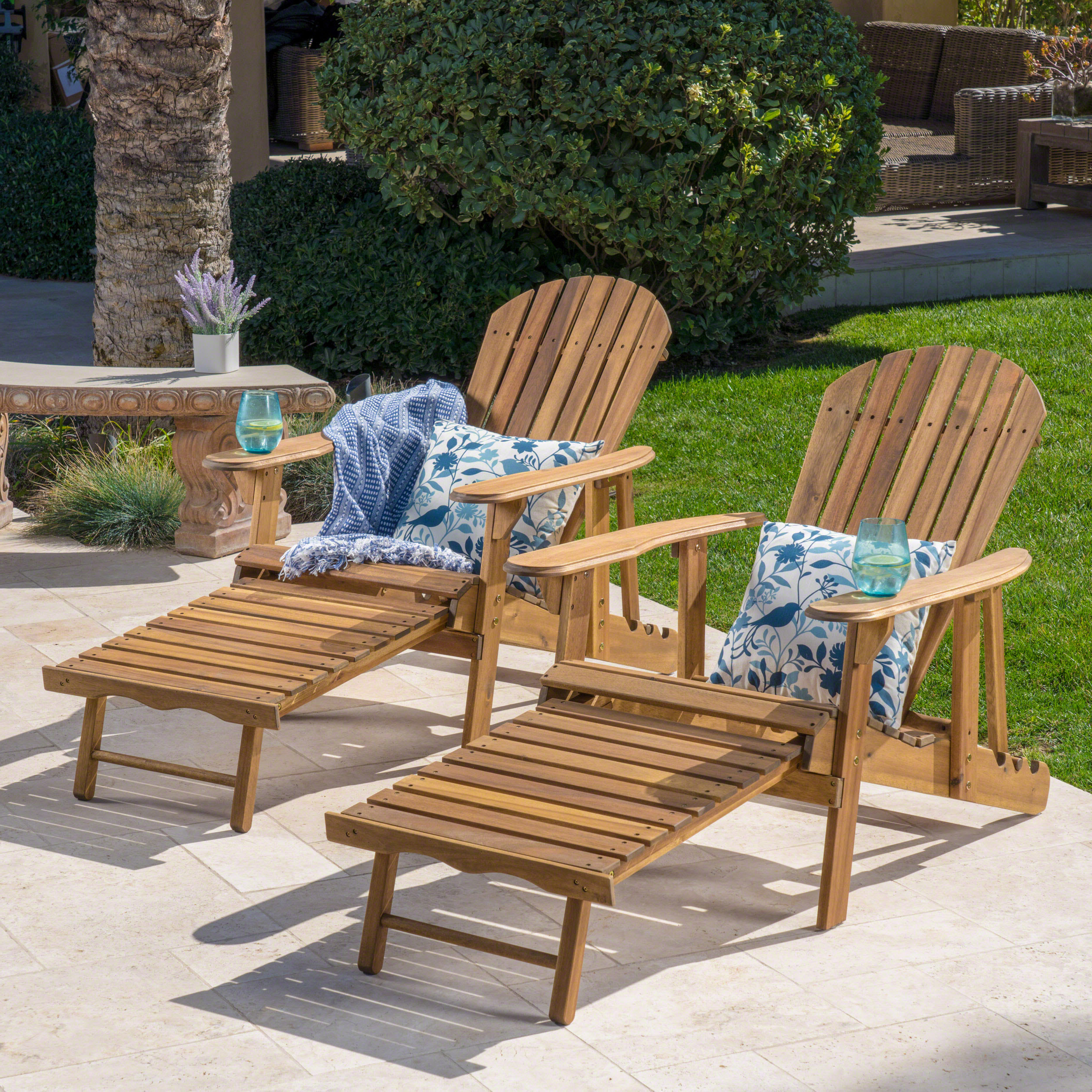 Munoz Reclining Wood Adirondack Chair With Footrest, Set Of 2, Natural  Stained For Most Up To Date Adirondack Chairs With Footrest (View 17 of 25)